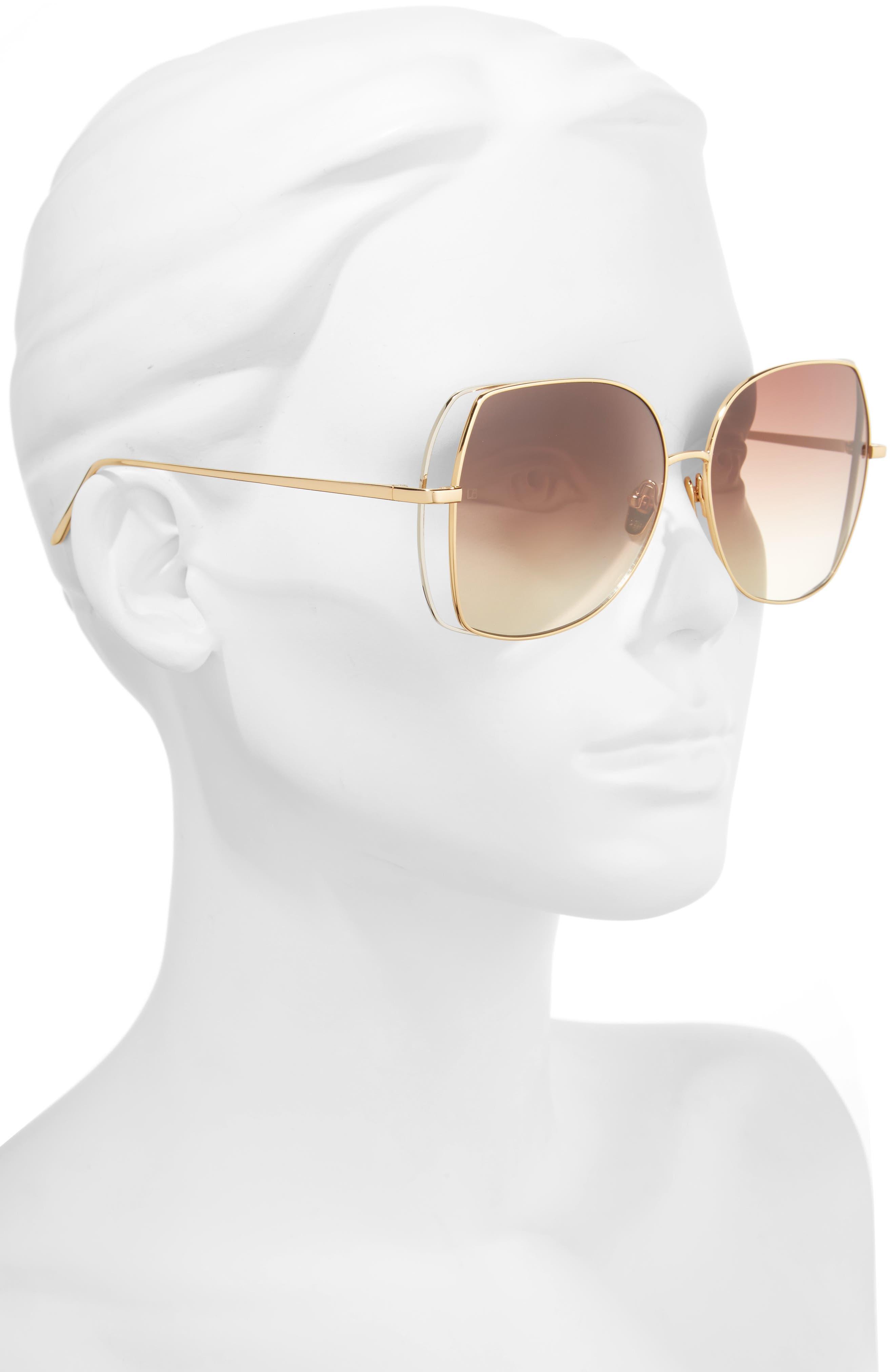 Alternate Image 2  - Linda Farrow 61mm Gradient Lens 18 Karat Gold Sunglasses