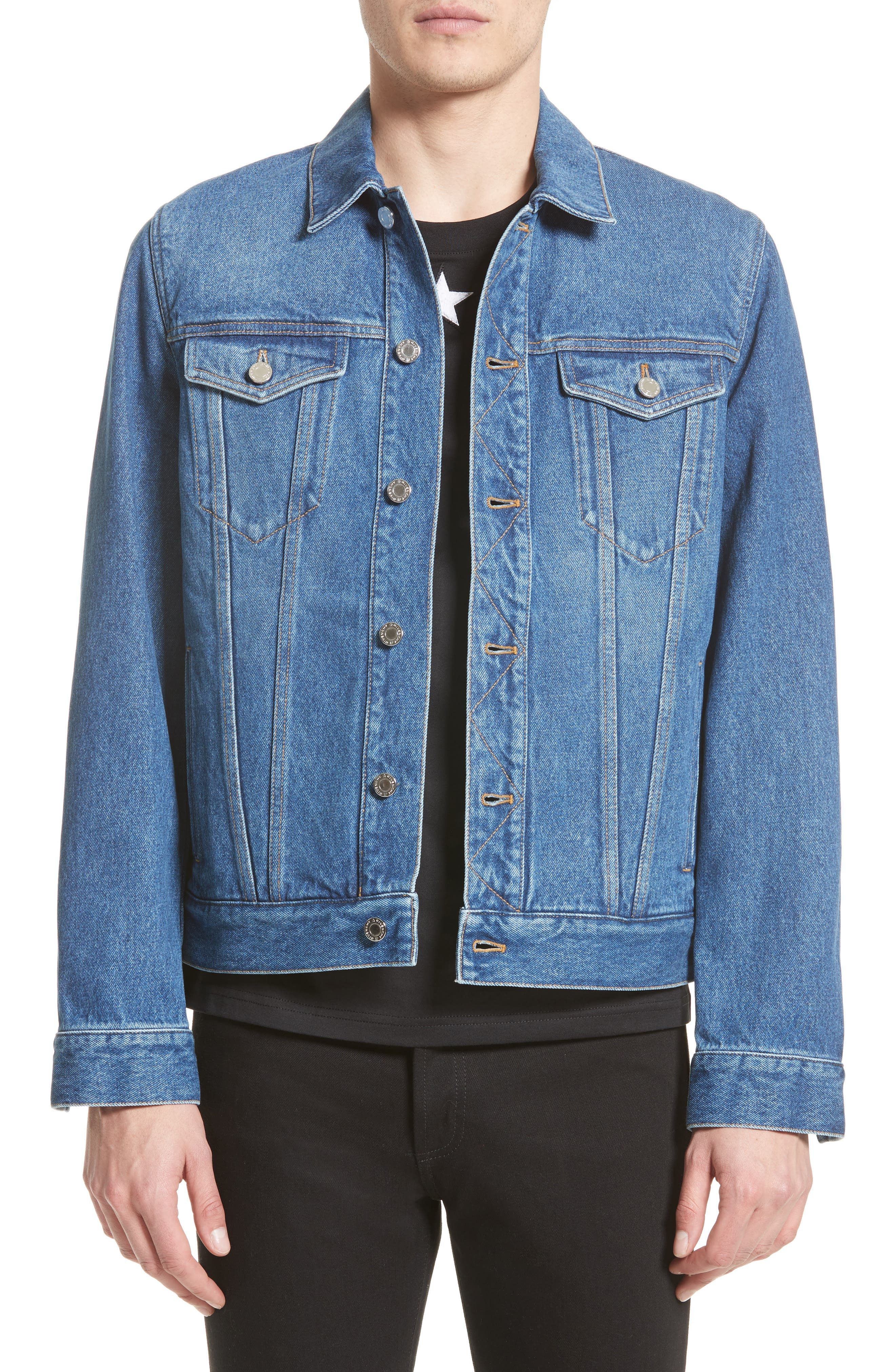 Logo Jean Jacket,                         Main,                         color, Blue