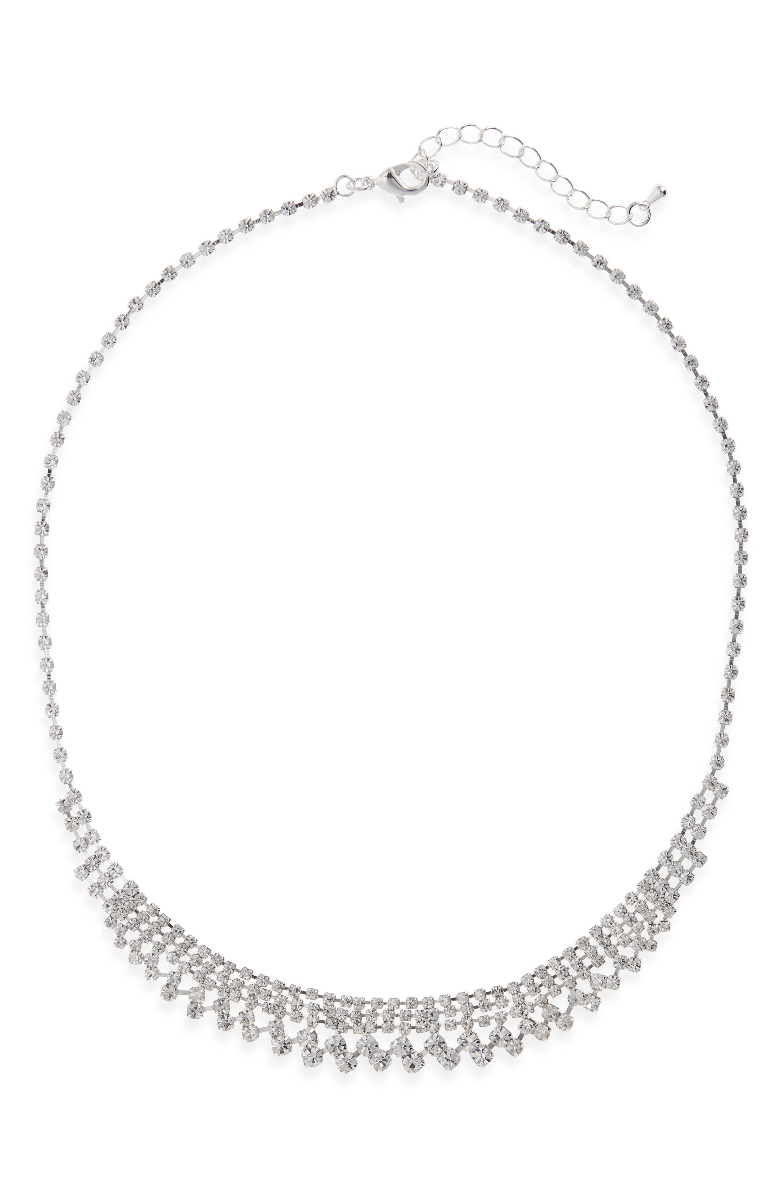 Crystal Frontal Necklace,                         Main,                         color, Silver