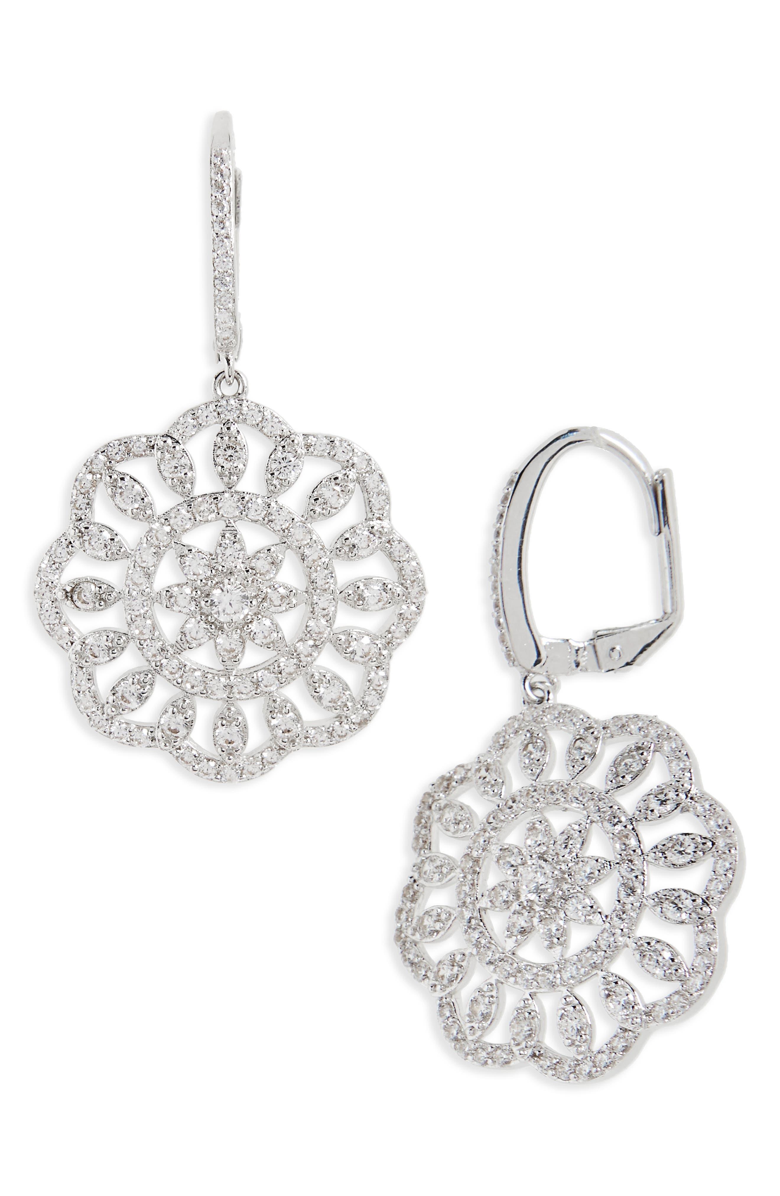 Sunburst Drop Earrings,                         Main,                         color, Silver