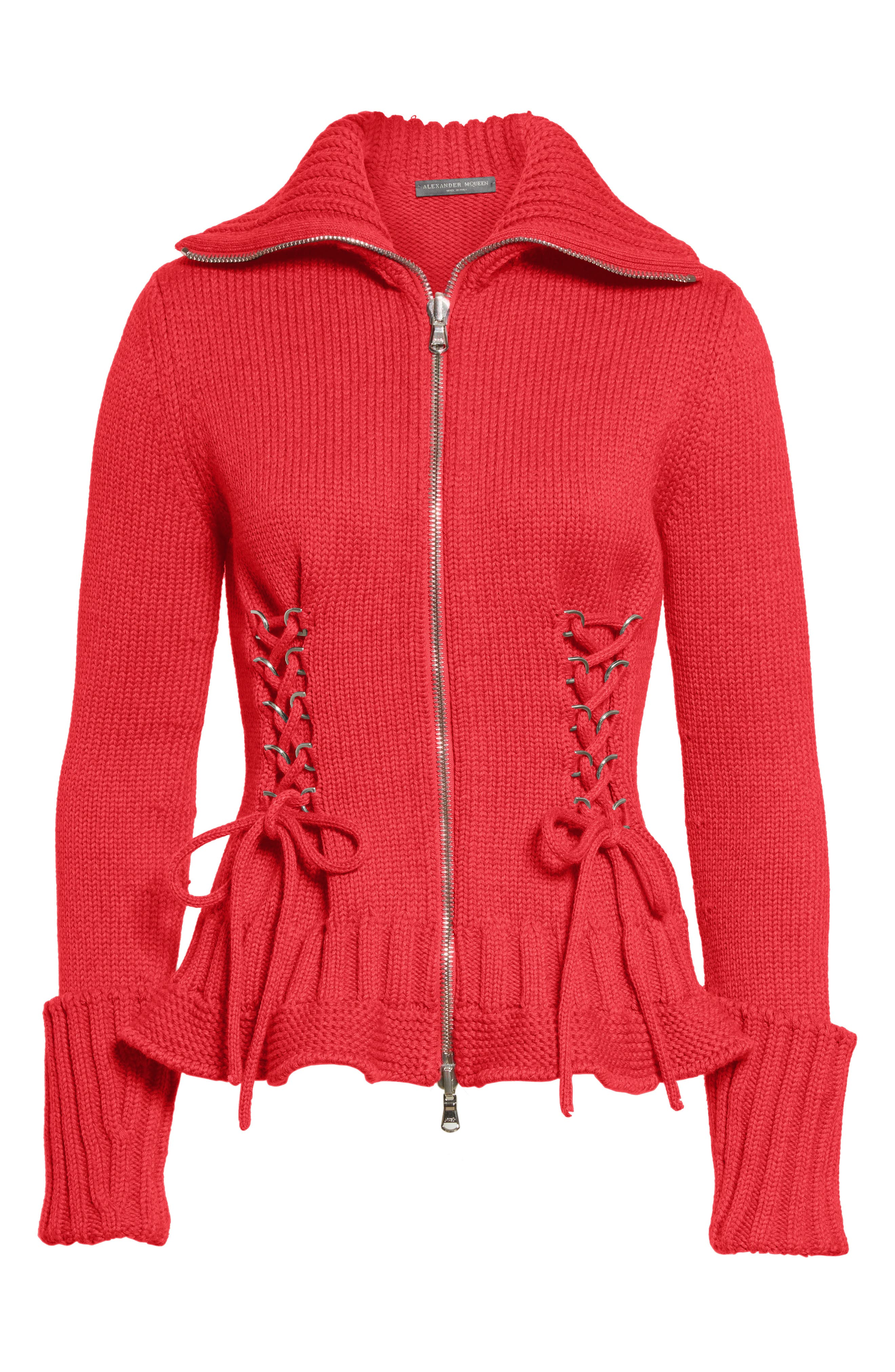 Lace-Up Wool Cardigan,                             Alternate thumbnail 4, color,                             Scarlet Red
