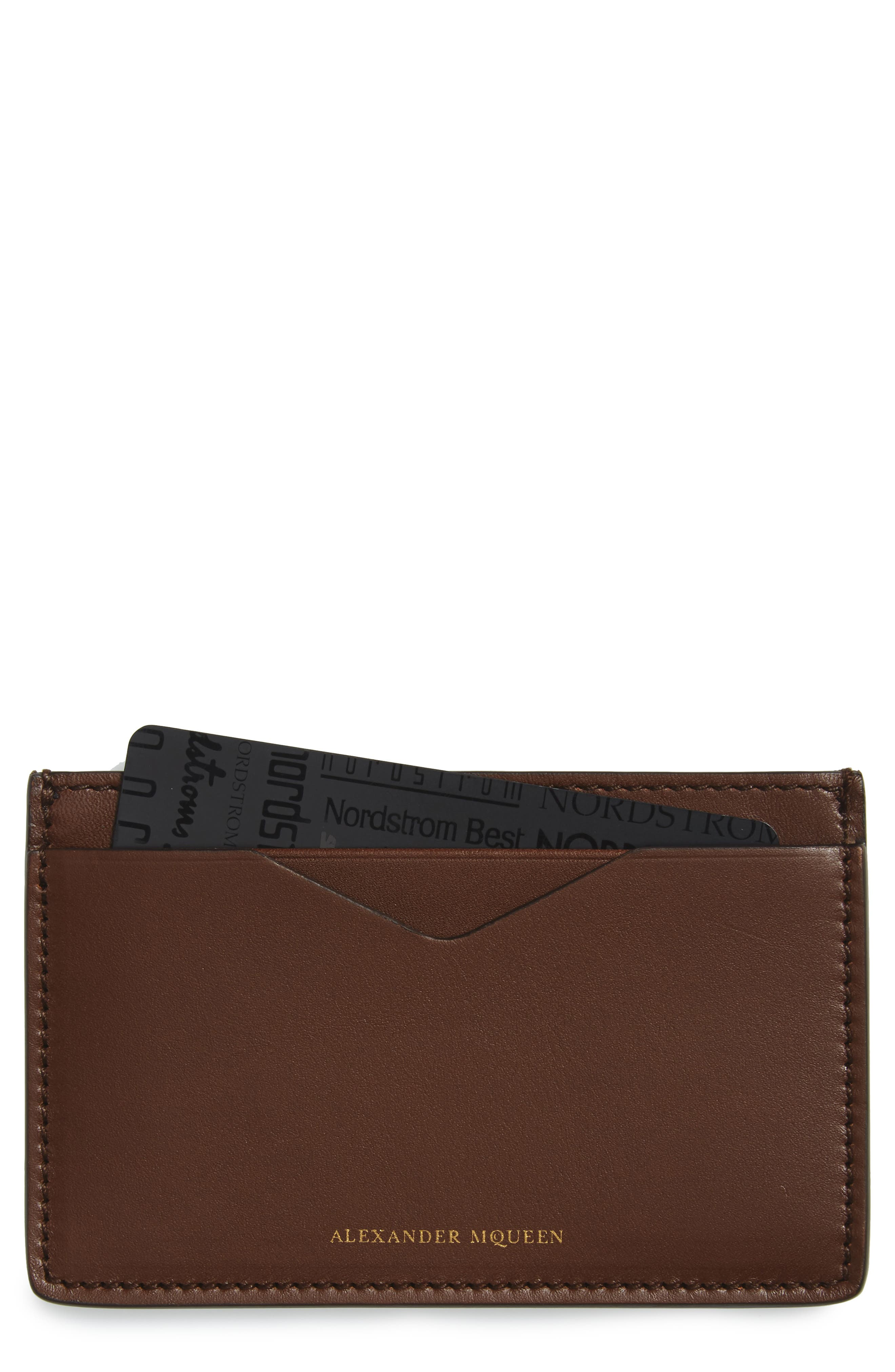 Leather Card Case,                         Main,                         color, Tan