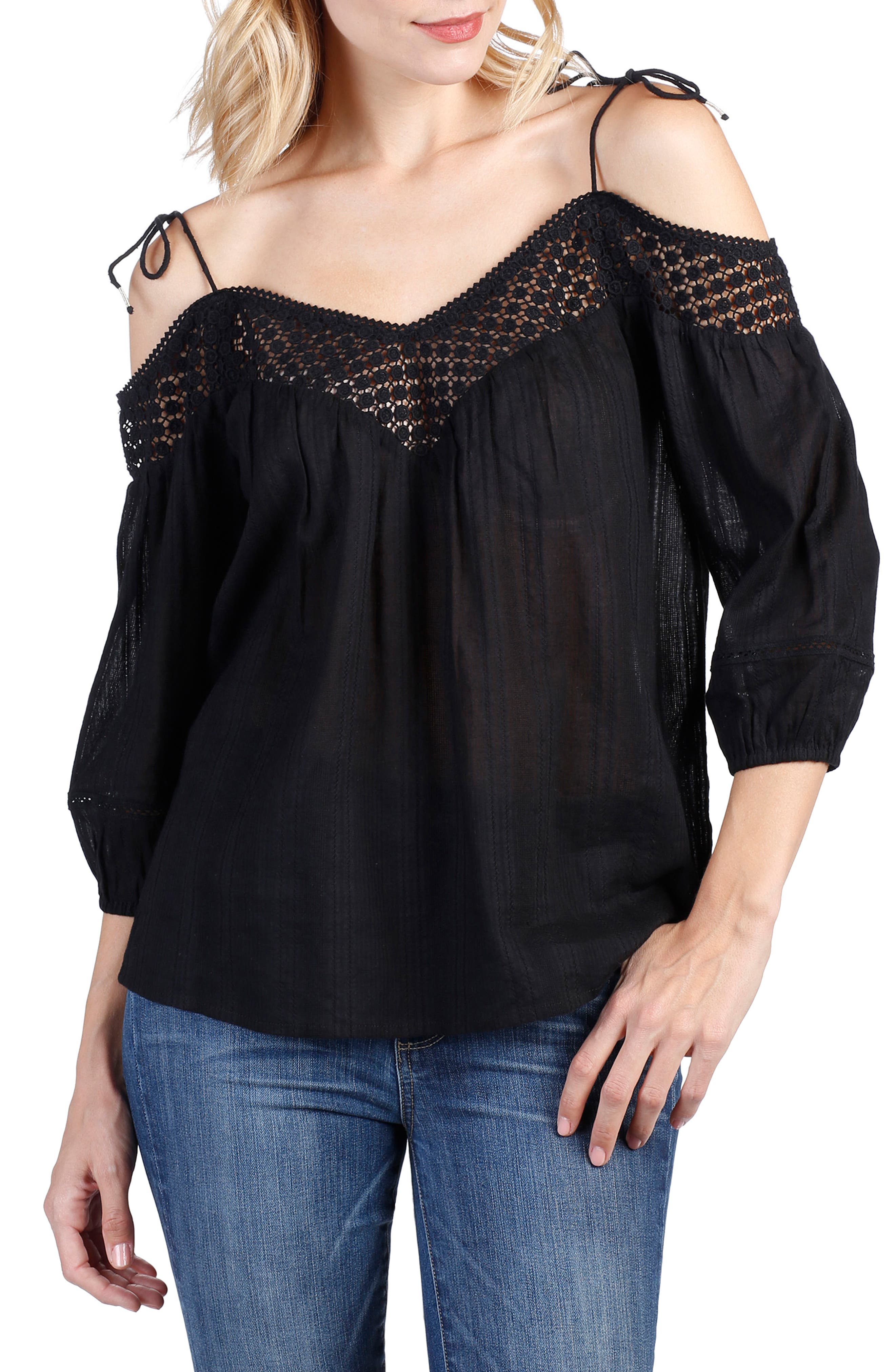 Polly Off the Shoulder Blouse,                             Main thumbnail 1, color,                             Black