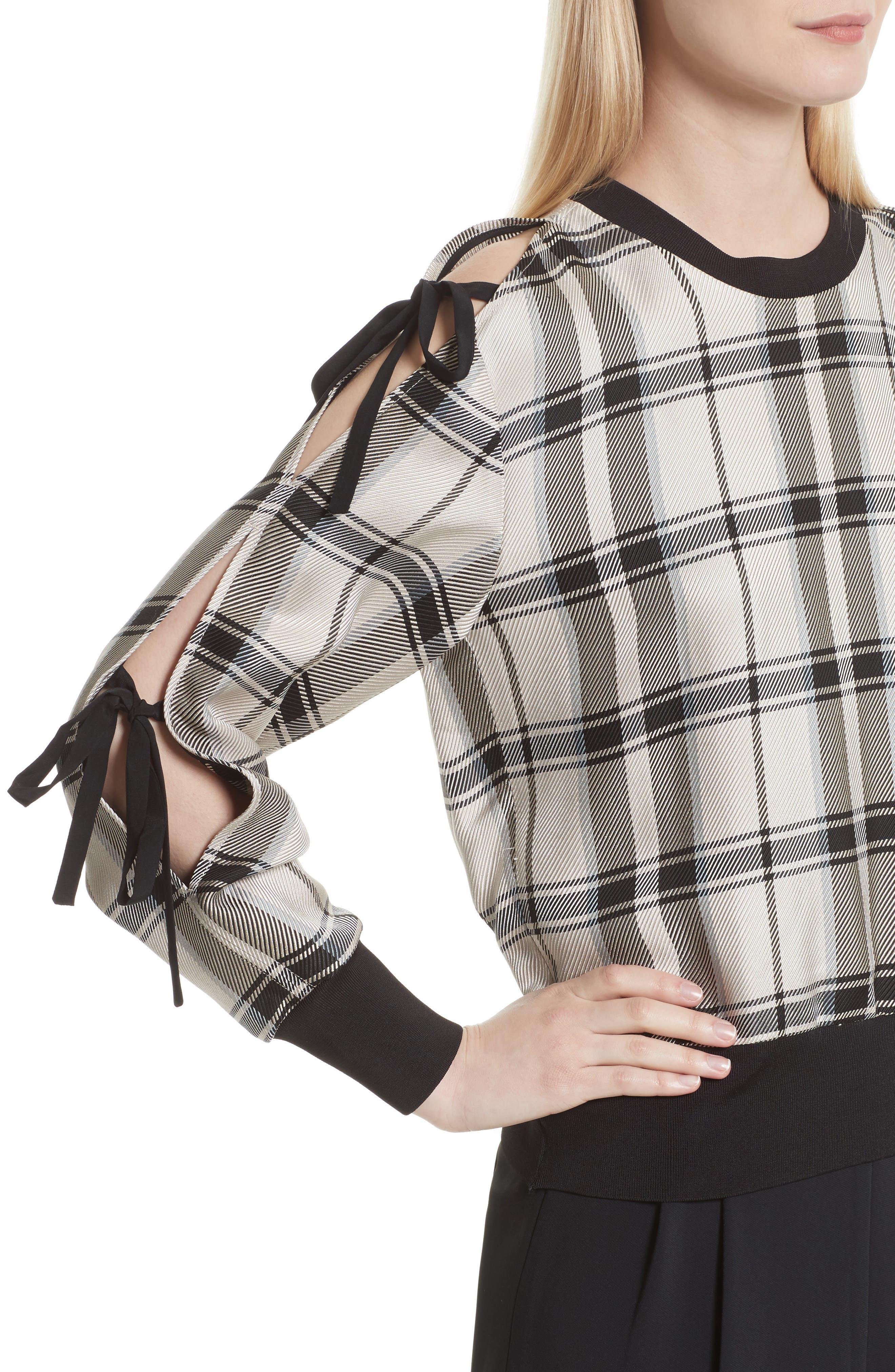 Tie Sleeve Check Pullover,                             Alternate thumbnail 5, color,                             Cream/ Black