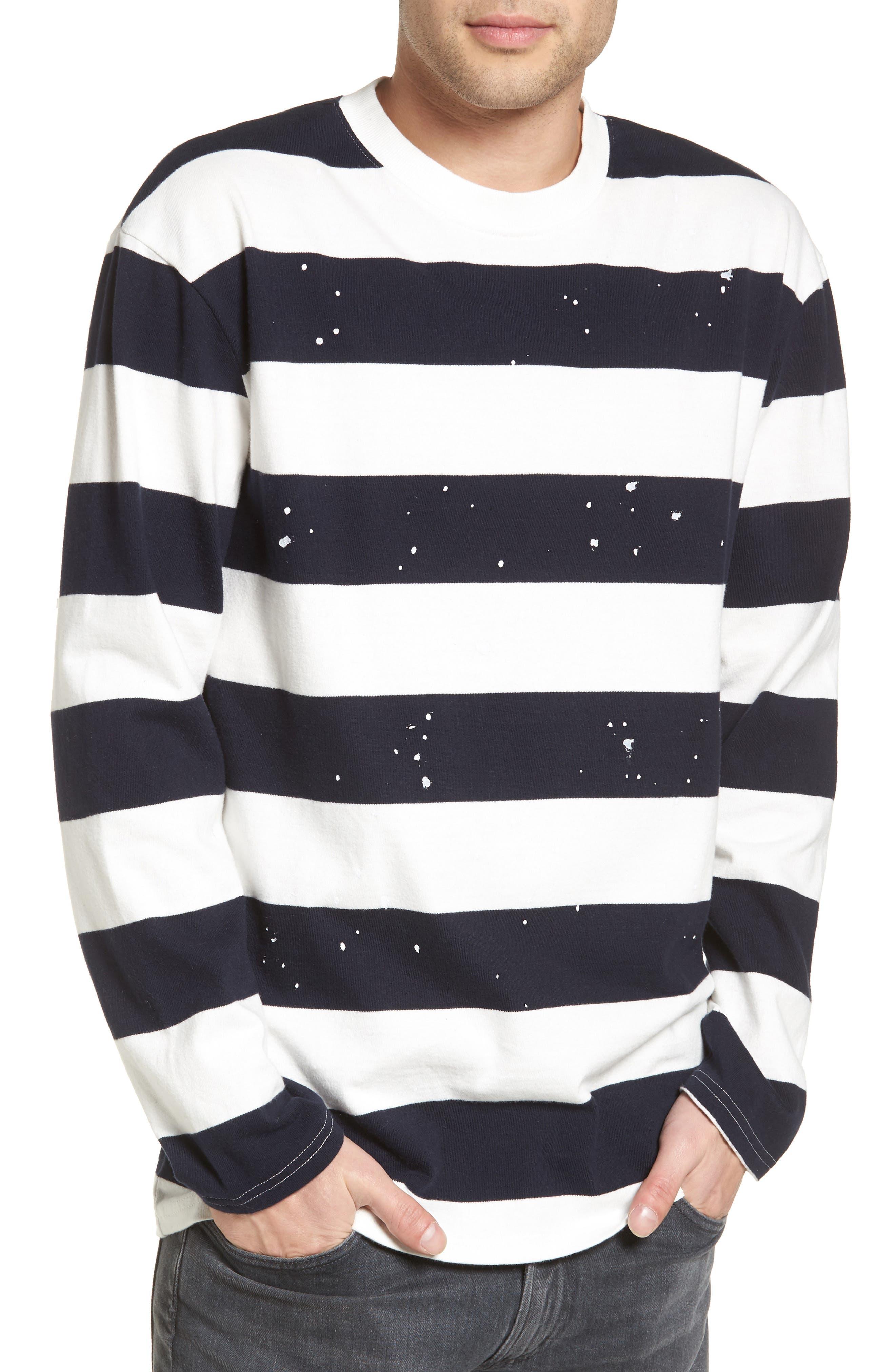 Paint Splatter Sweatshirt,                         Main,                         color, Navy Peacoat White Stripe