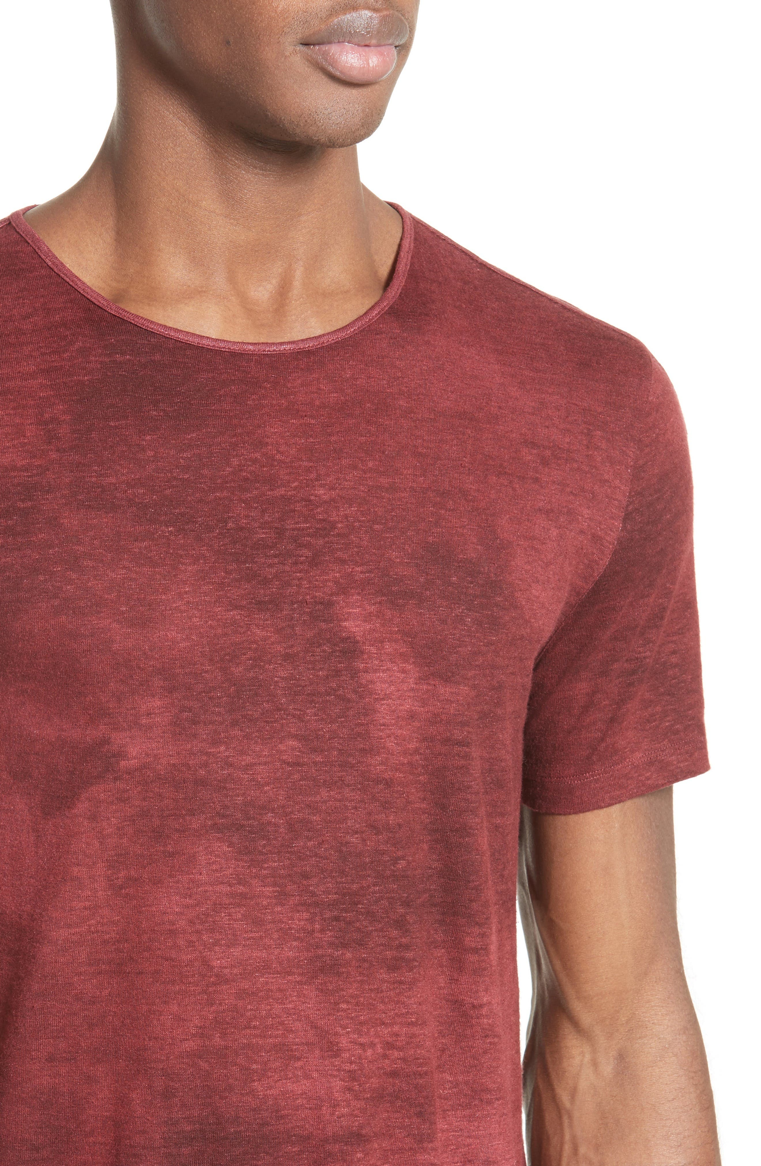 Linen Blend T-Shirt,                             Alternate thumbnail 4, color,                             Red Clay