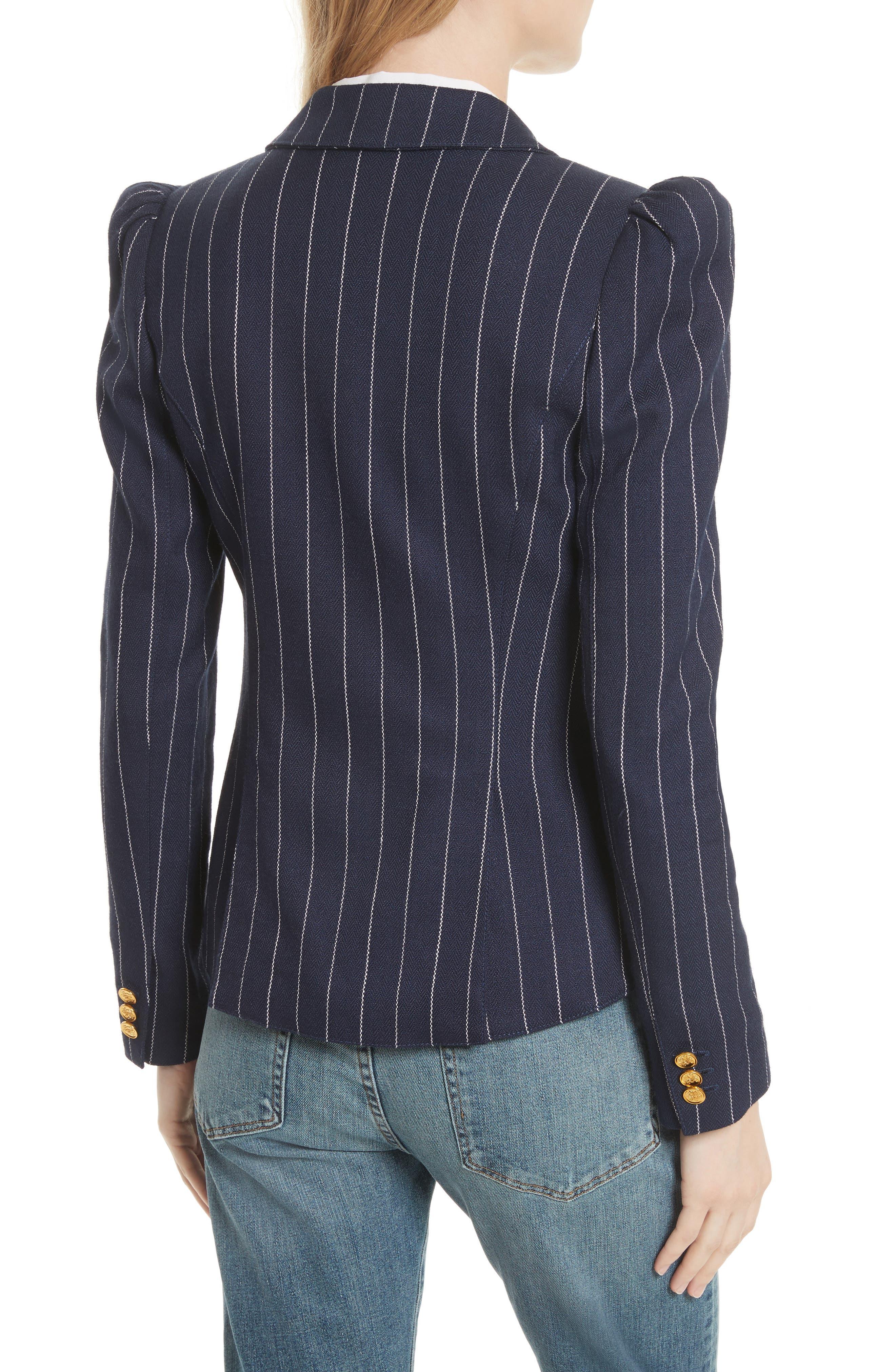 Stripe Puff Sleeve Blazer,                             Alternate thumbnail 2, color,                             Navy Pinstripe