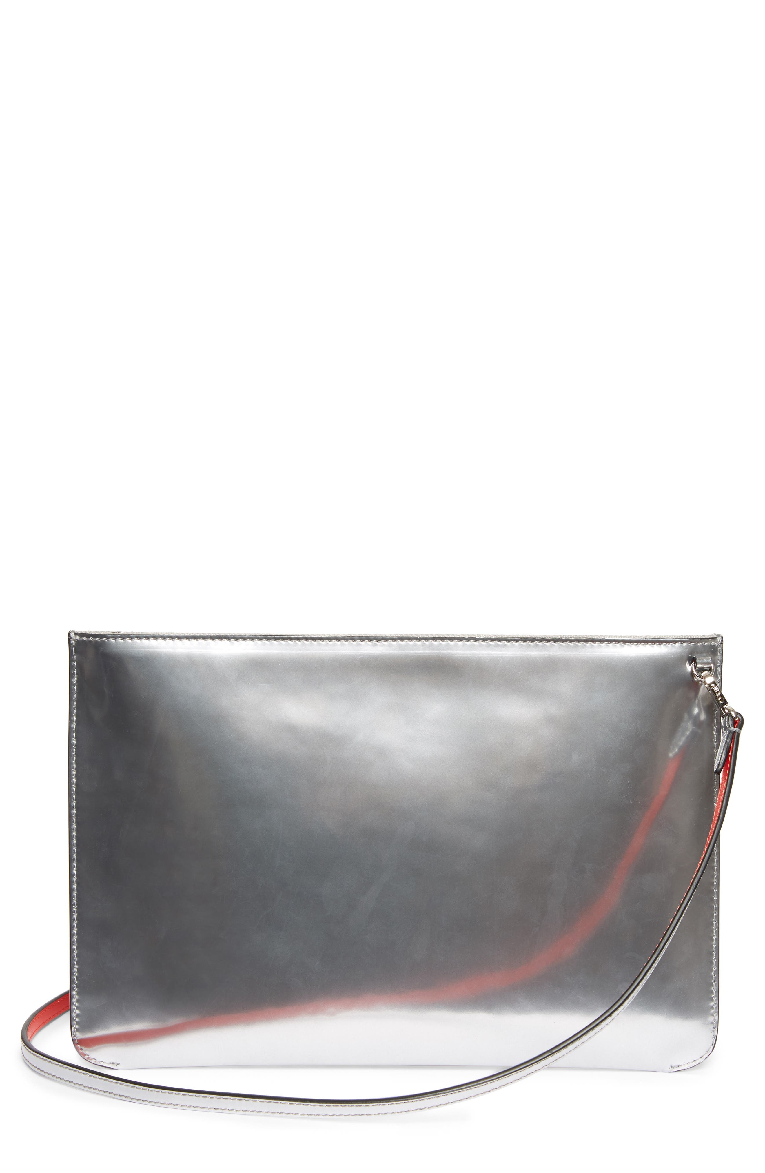 Loubiclutch Spiked Leather Clutch,                             Alternate thumbnail 2, color,                             Silver/ Silver