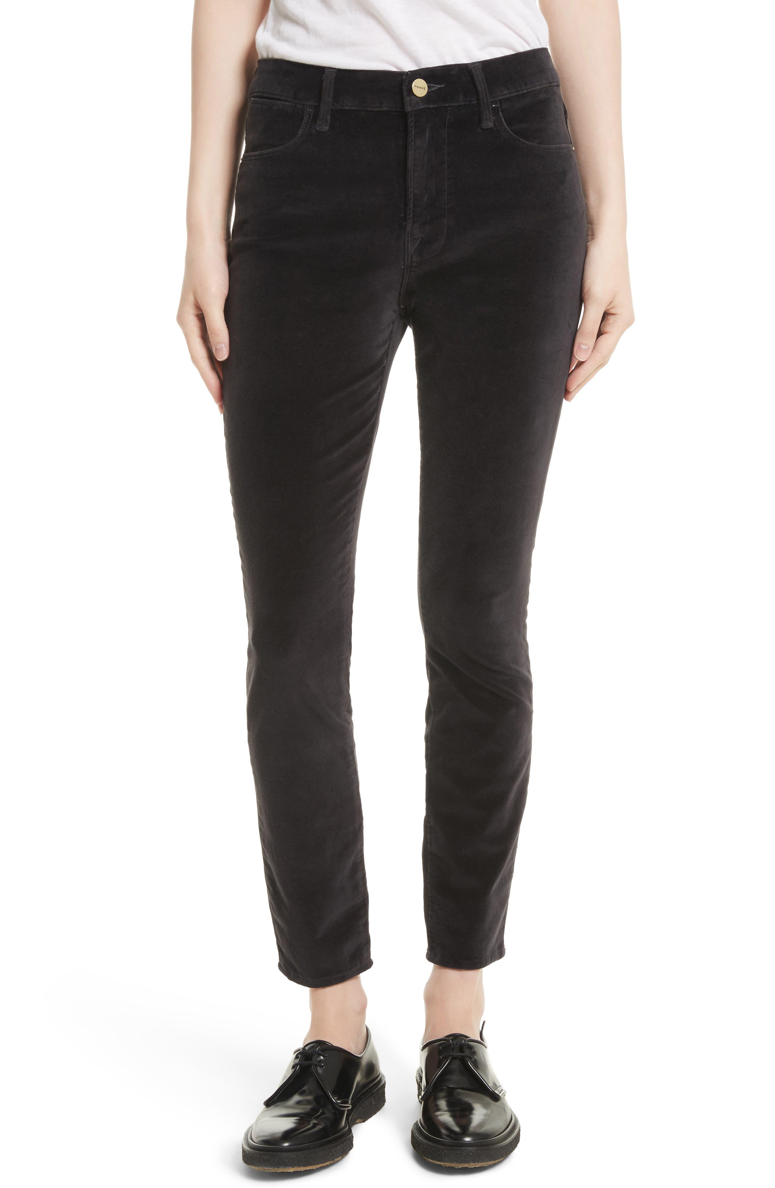Velveteen High Waist Skinny Pants,                         Main,                         color, Charcoal