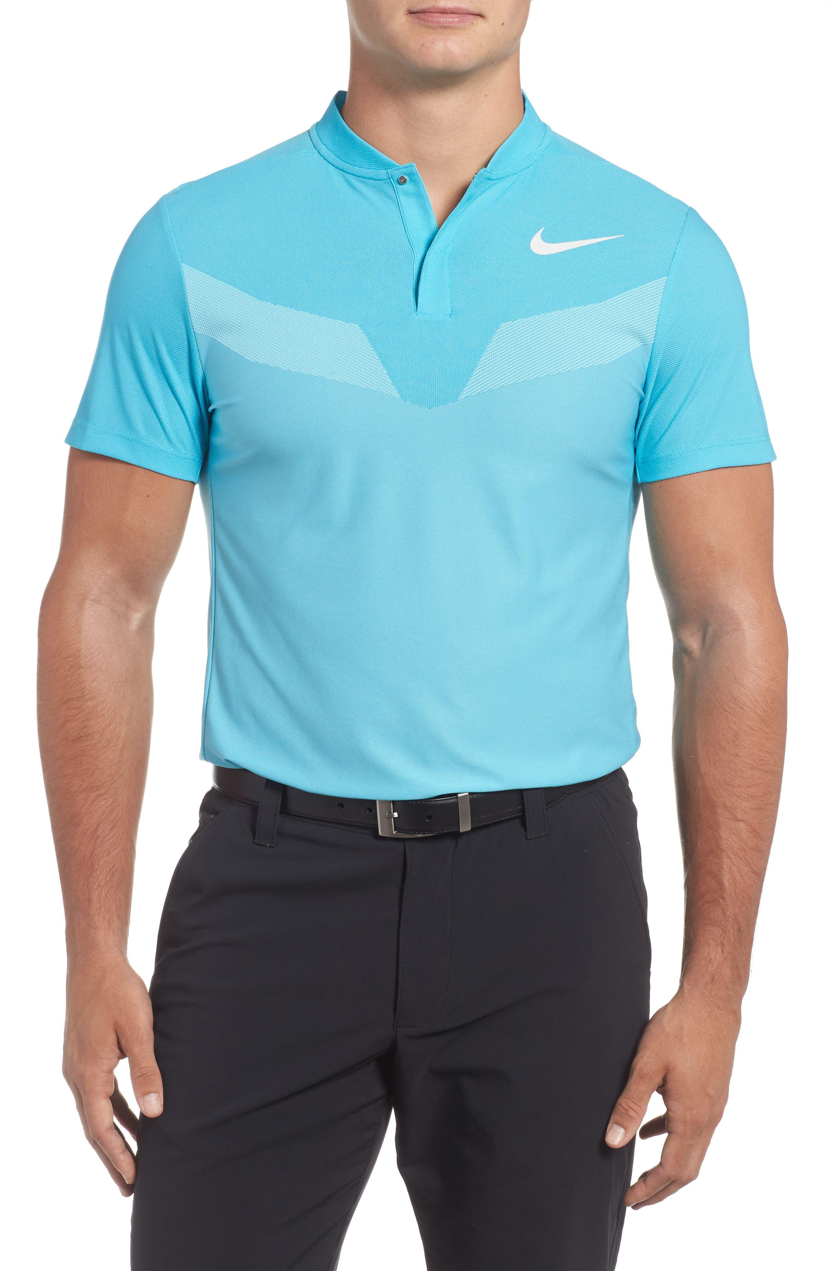 Golf Polo,                         Main,                         color, Chlorine Blue/ White