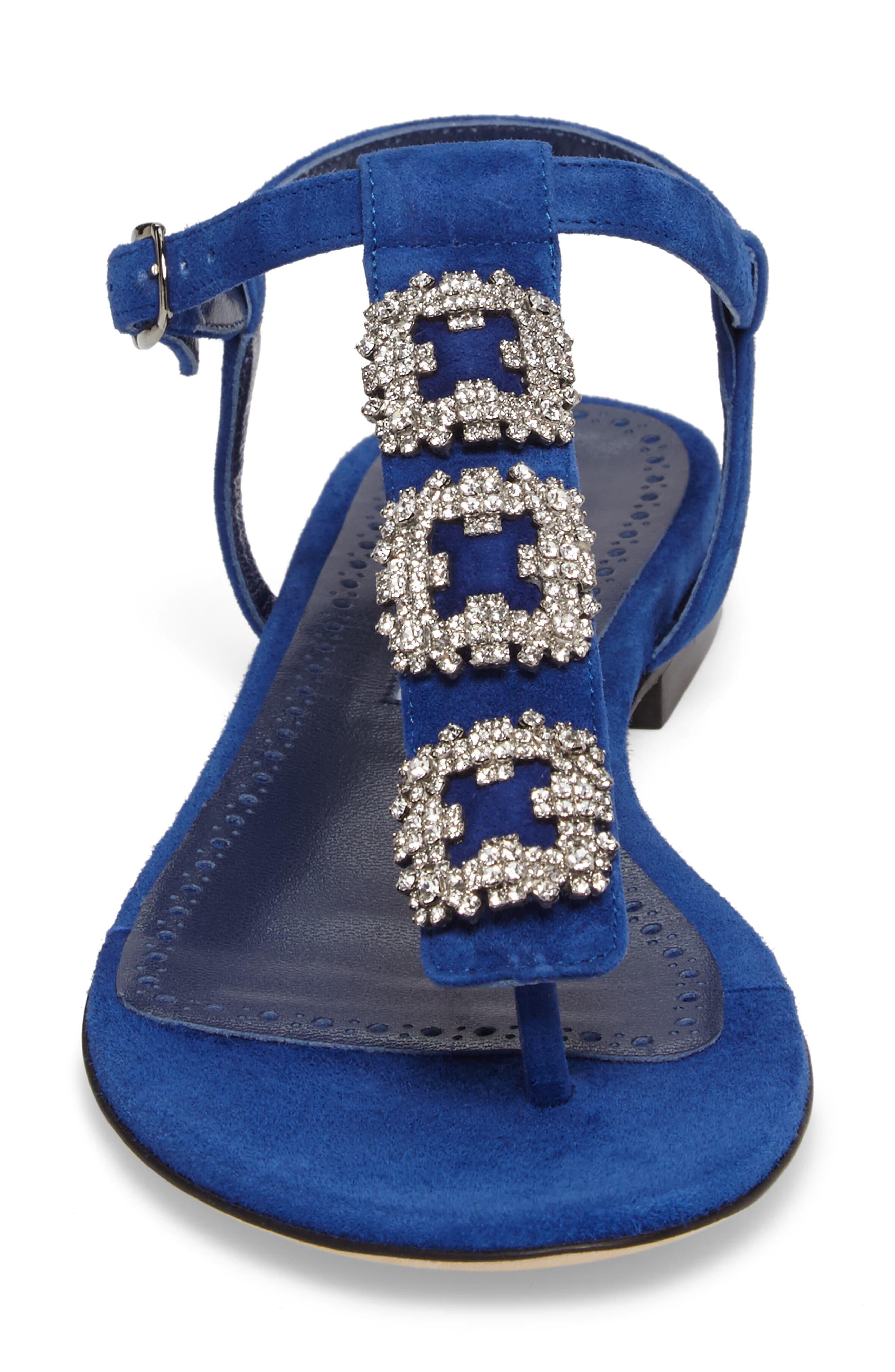 Ottolina T-Strap Sandal,                             Alternate thumbnail 4, color,                             Blue Suede