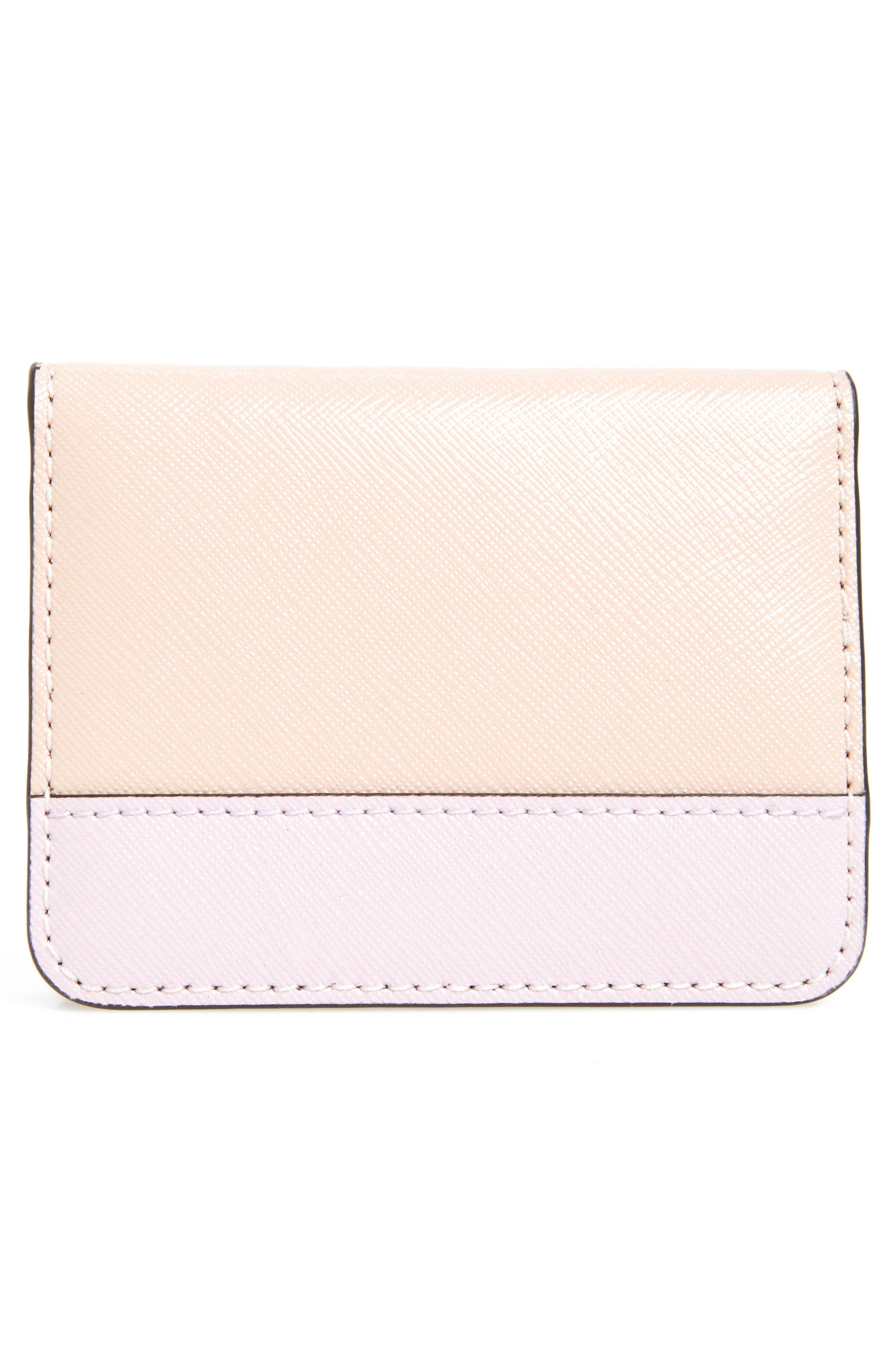 Color Block Saffiano Leather Business Card Case,                             Alternate thumbnail 4, color,                             Pale Pink Multi