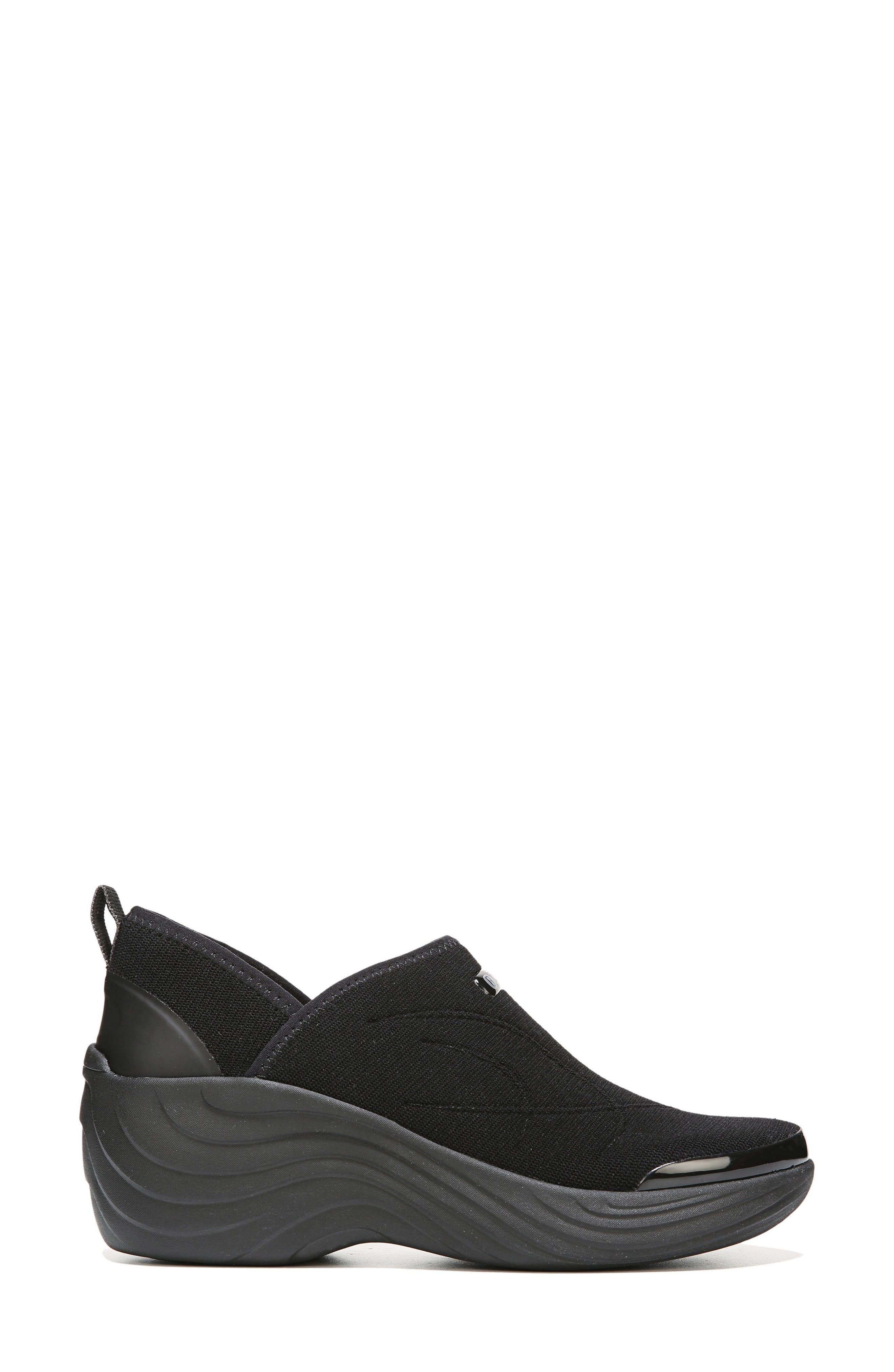 Zsa Zsa Wedge Sneaker,                             Alternate thumbnail 3, color,                             Black Fabric