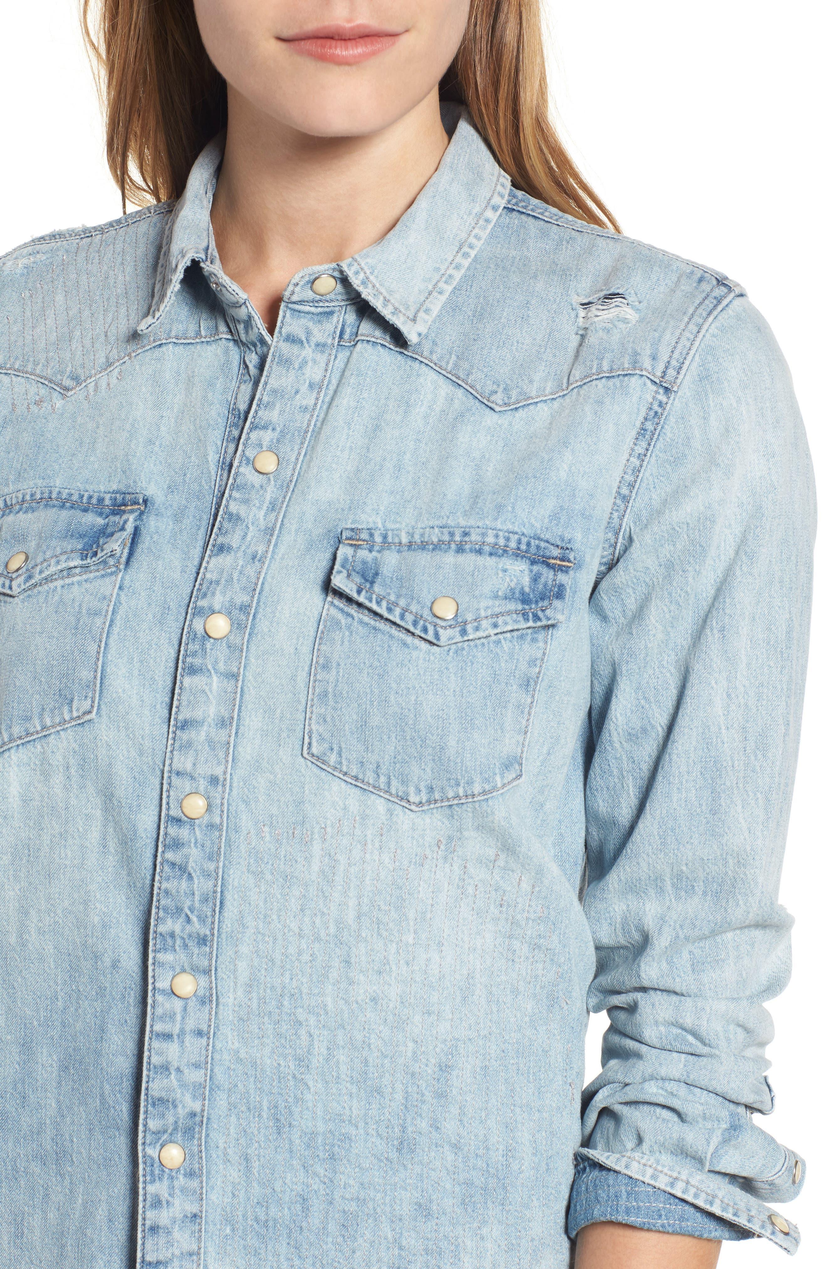 Alternate Image 4  - Lucky Brand Studded Denim Western Shirt