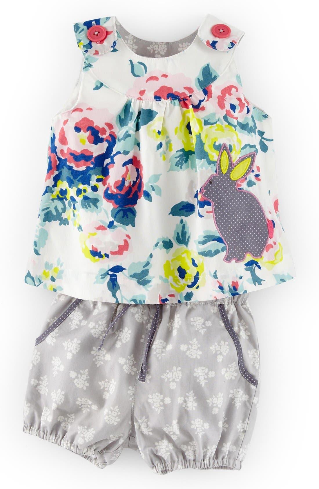 Alternate Image 1 Selected - Mini Boden Appliqué Tunic & Bubble Shorts (Baby Girls)
