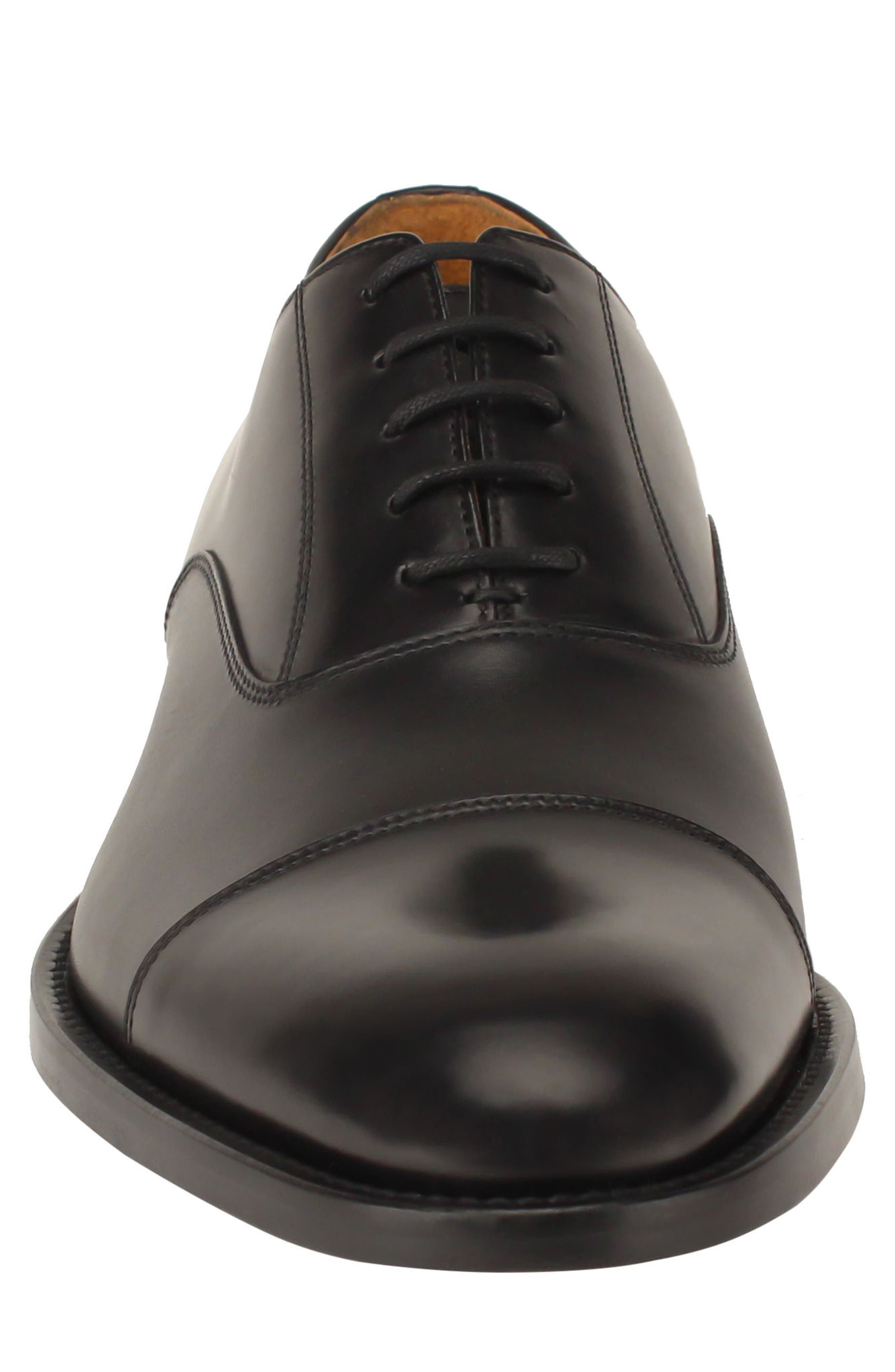 Nathan Cap Toe Oxford,                             Alternate thumbnail 5, color,                             Black Leather