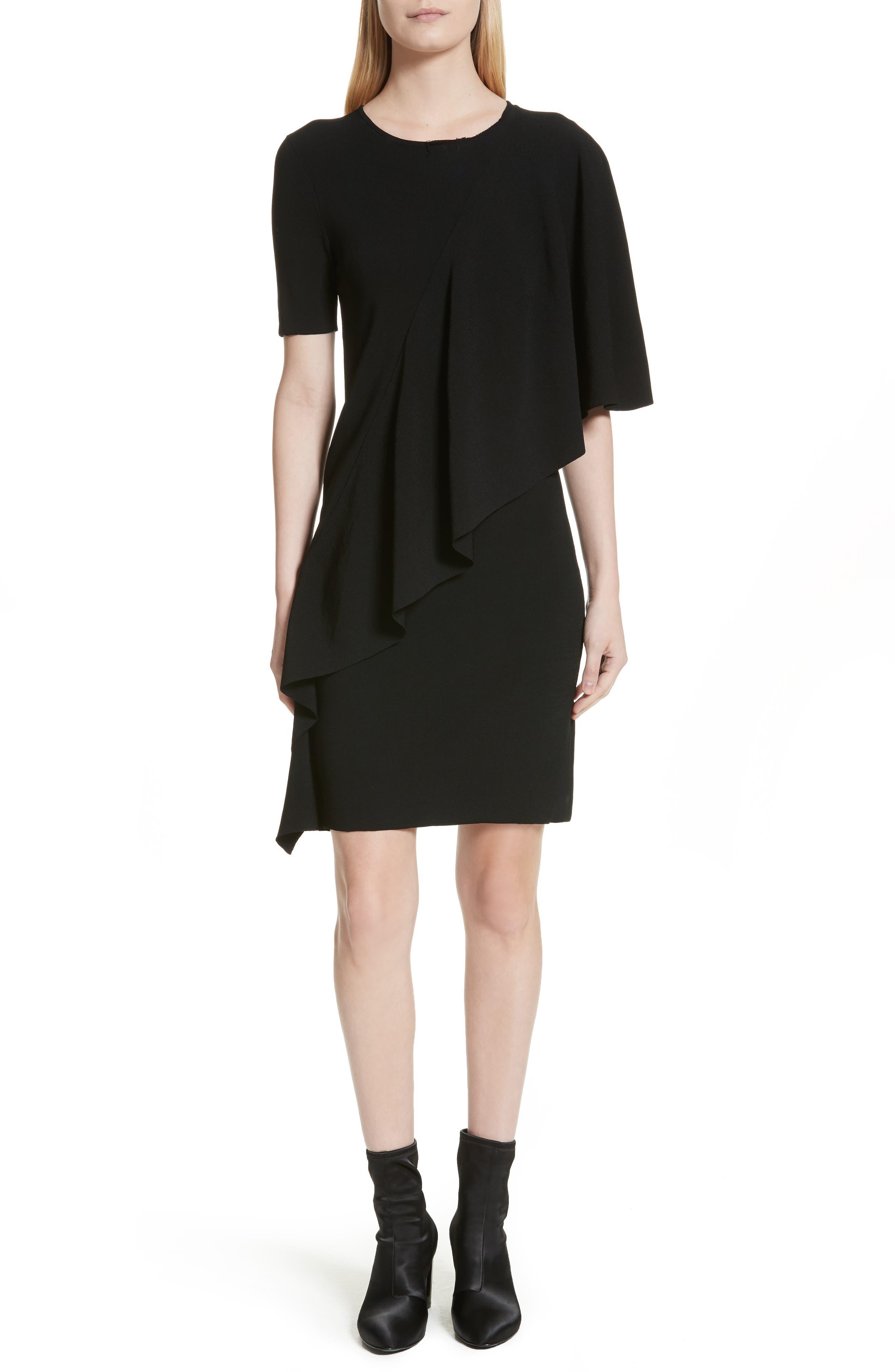 Flounce Minidress,                             Main thumbnail 1, color,                             Black
