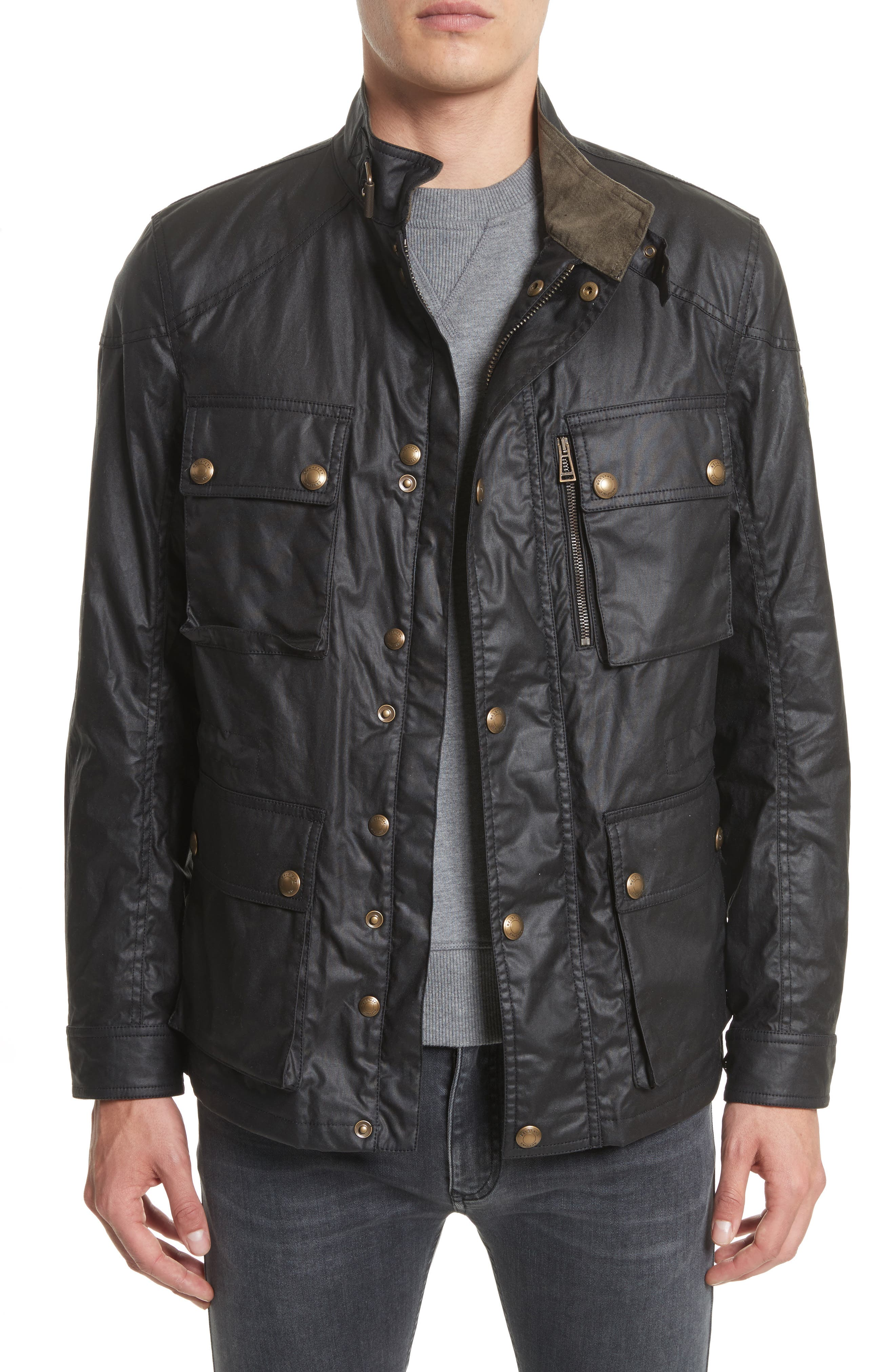 'Trialmaster 2015' Waxed Cotton Jacket,                         Main,                         color, Black