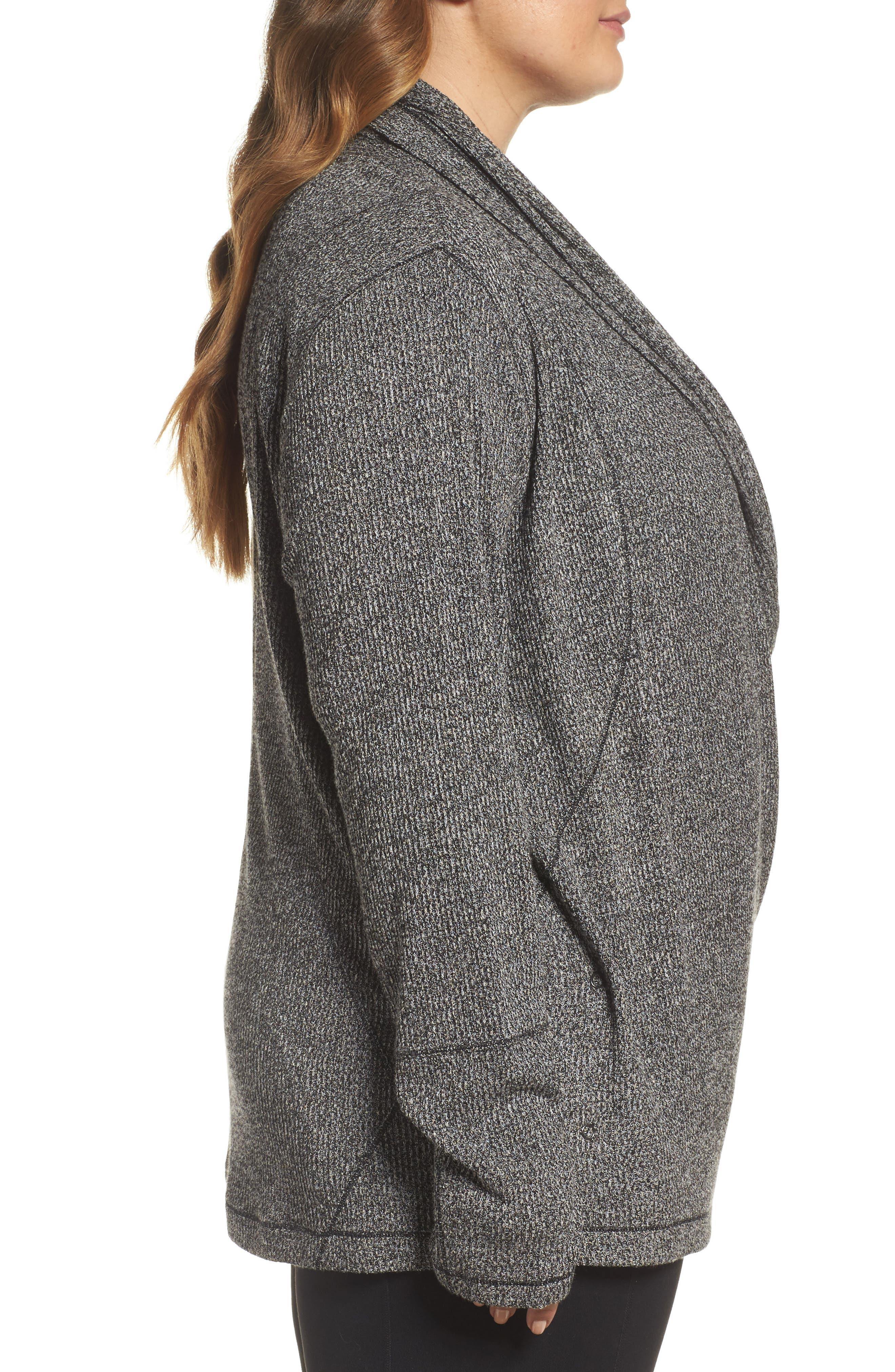 Alternate Image 3  - Zella Enlighten Me Ribbed Cardigan (Plus Size)
