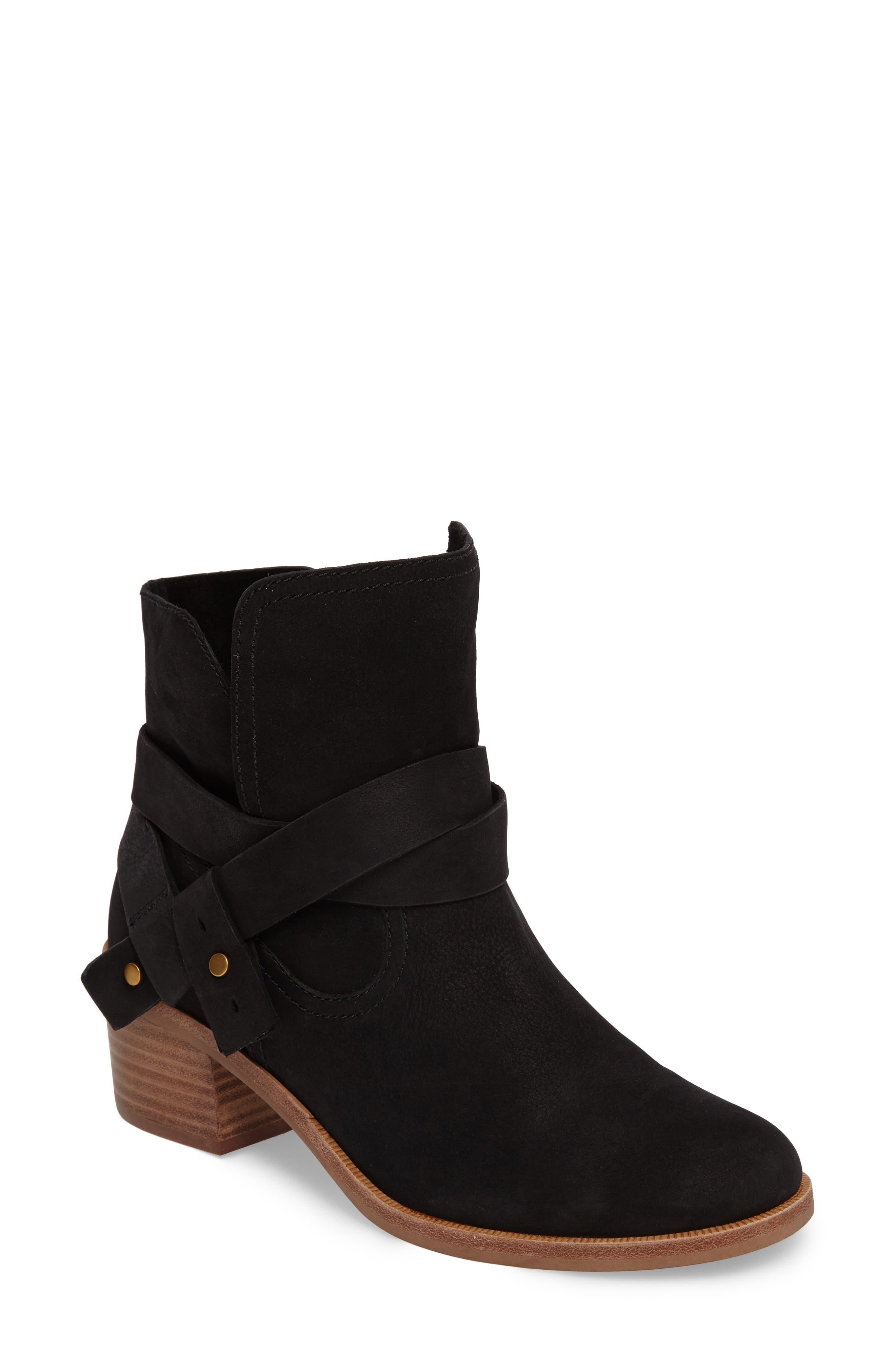 Elora Bootie,                         Main,                         color, Black Nubuck Leather