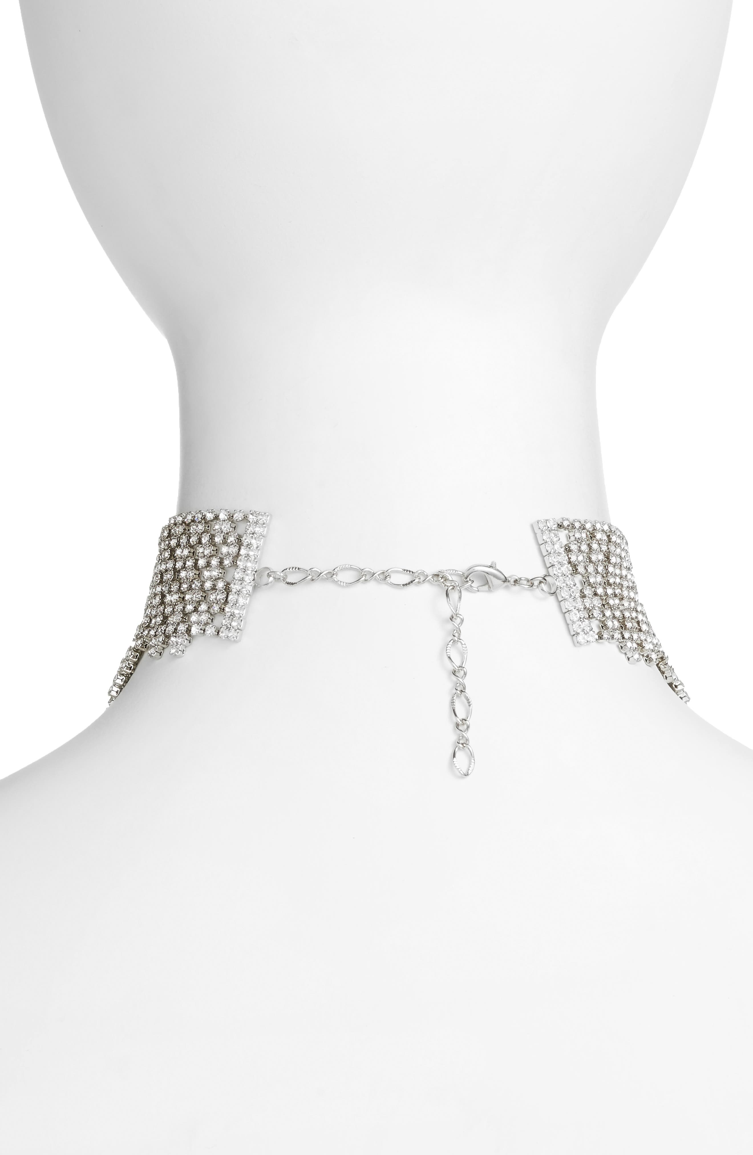 Graduated Crystal Choker,                             Alternate thumbnail 2, color,                             Clear / Silver