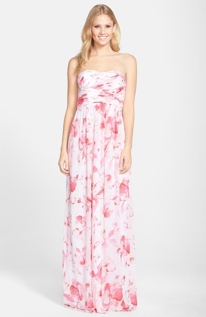 Donna Morgan Stephanie Strapless Ruched Chiffon Gown