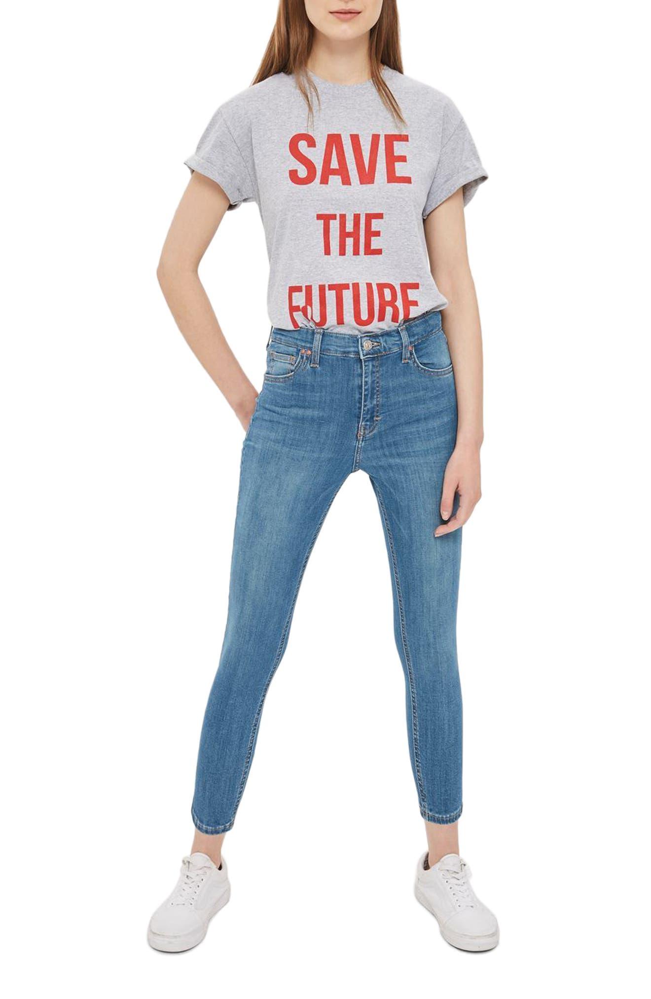 Main Image - Topshop Jamie High Waist Crop Skinny Jeans (Petite)