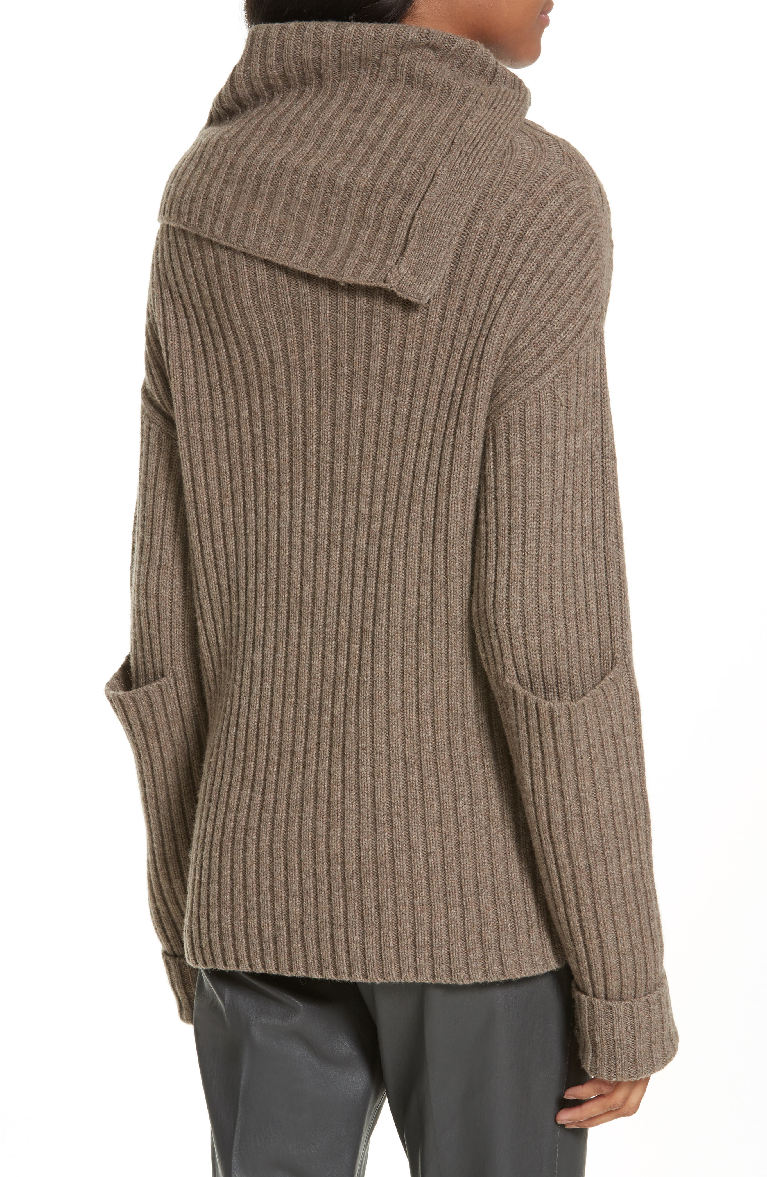 High-Neck Military Sweater,                             Alternate thumbnail 2, color,                             Taupe