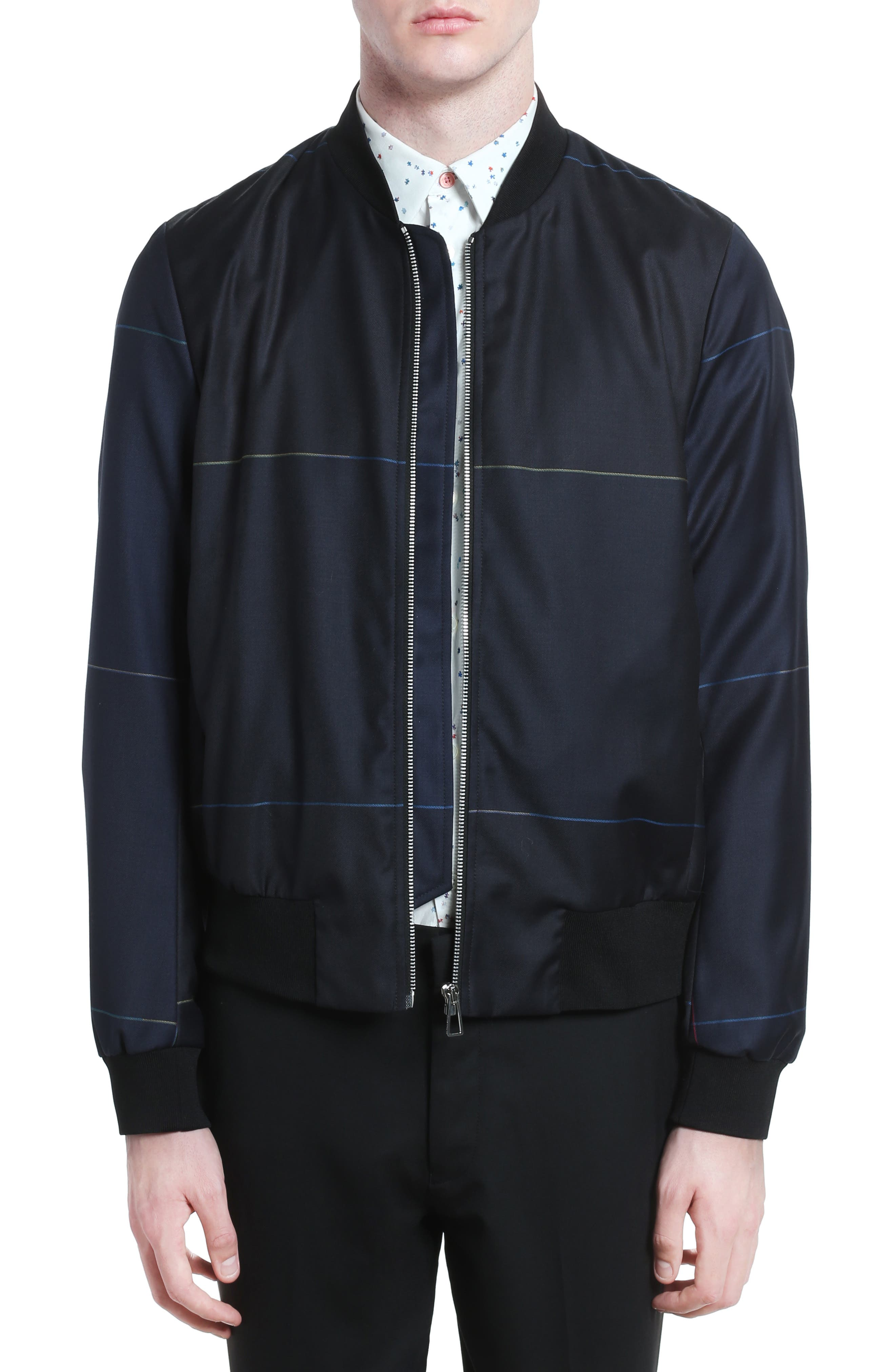 PS Paul Smith Tartan Plaid Wool Bomber Jacket