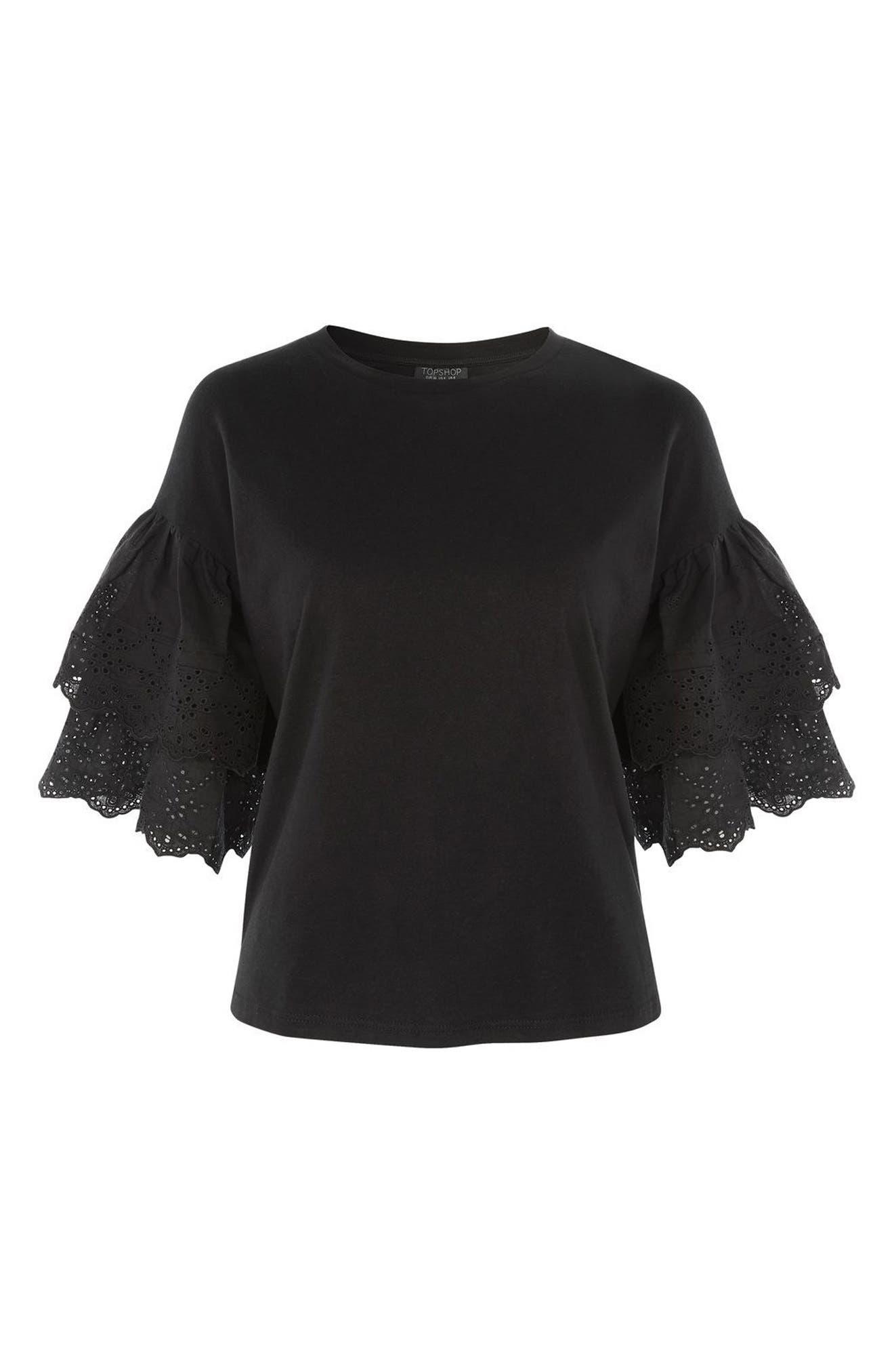 Alternate Image 4  - Topshop Eyelet Layer Sleeve Tee T-Shirt (Regular & Petite)