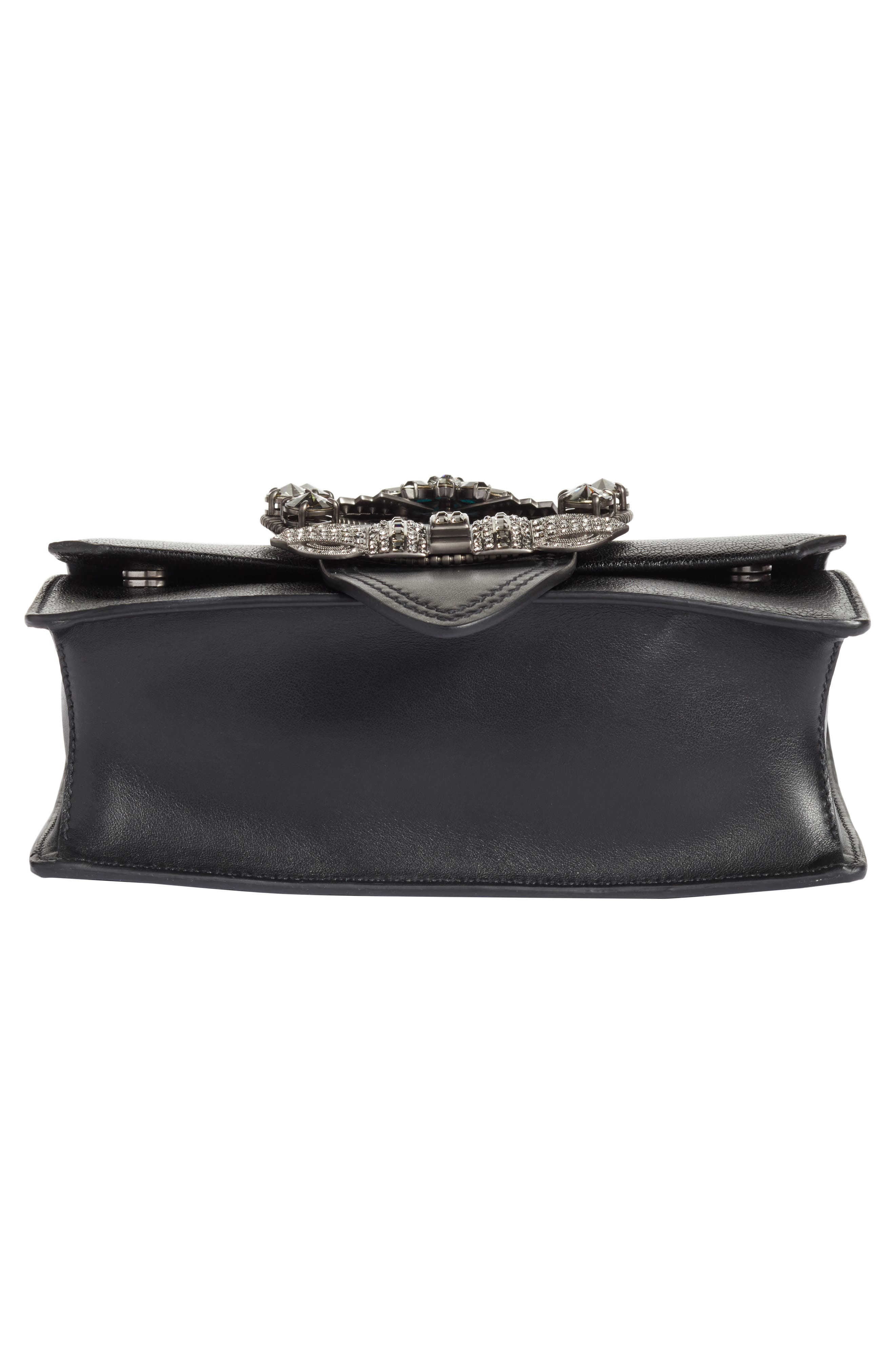 Madras Crystal Embellished Leather Shoulder Bag,                             Alternate thumbnail 6, color,                             Black