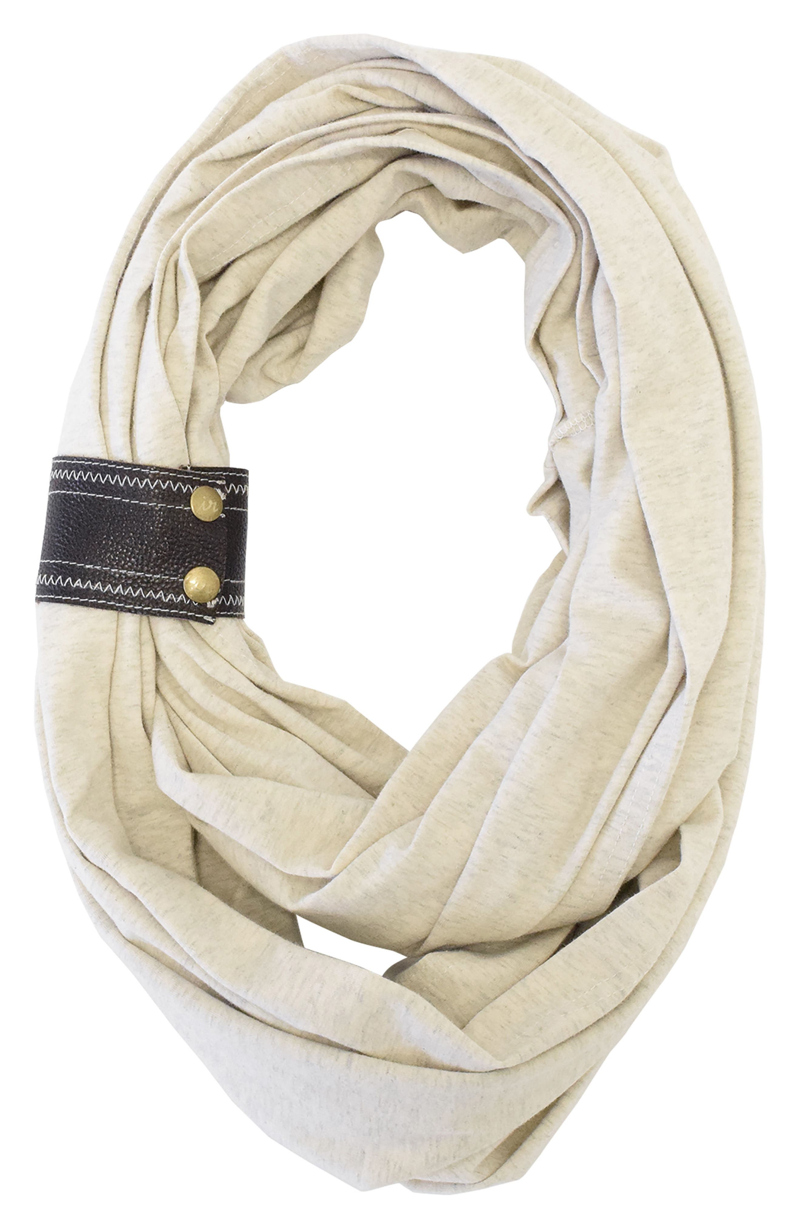 Infinity Nursing Scarf with Leather Cuff,                             Main thumbnail 1, color,                             Oatmeal