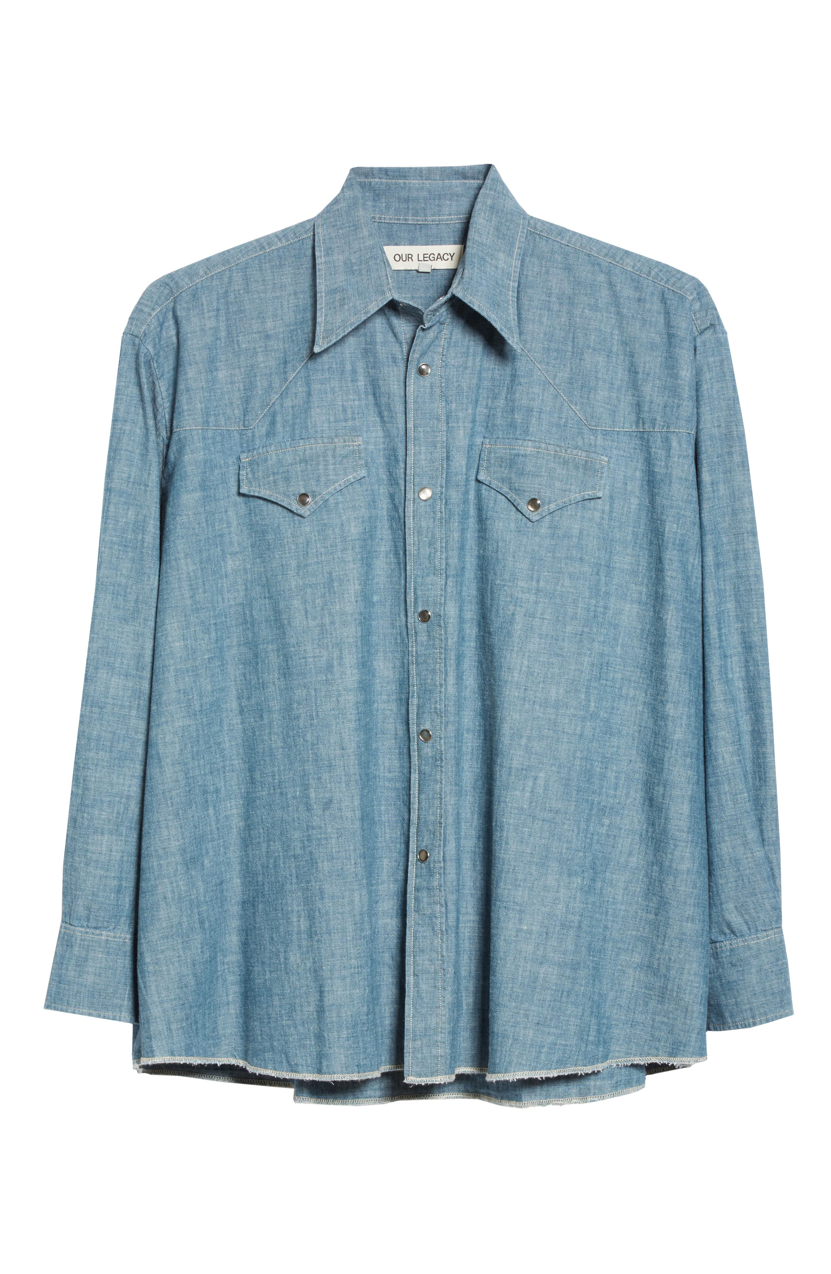 Oversize Chambray Snap Front Shirt,                             Alternate thumbnail 6, color,                             Blue