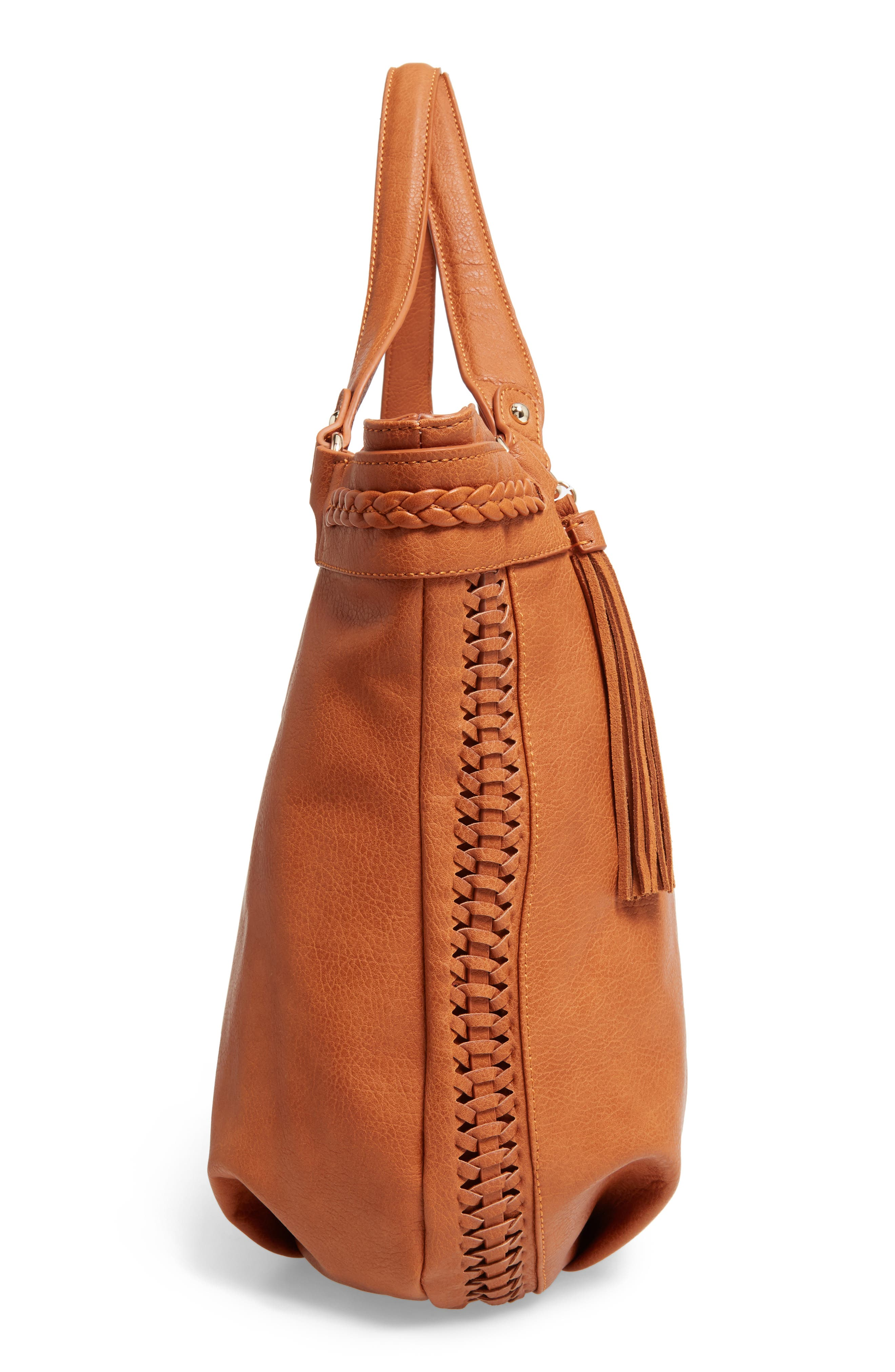 Tara Braided Faux Leather Hobo,                             Alternate thumbnail 5, color,                             Cognac
