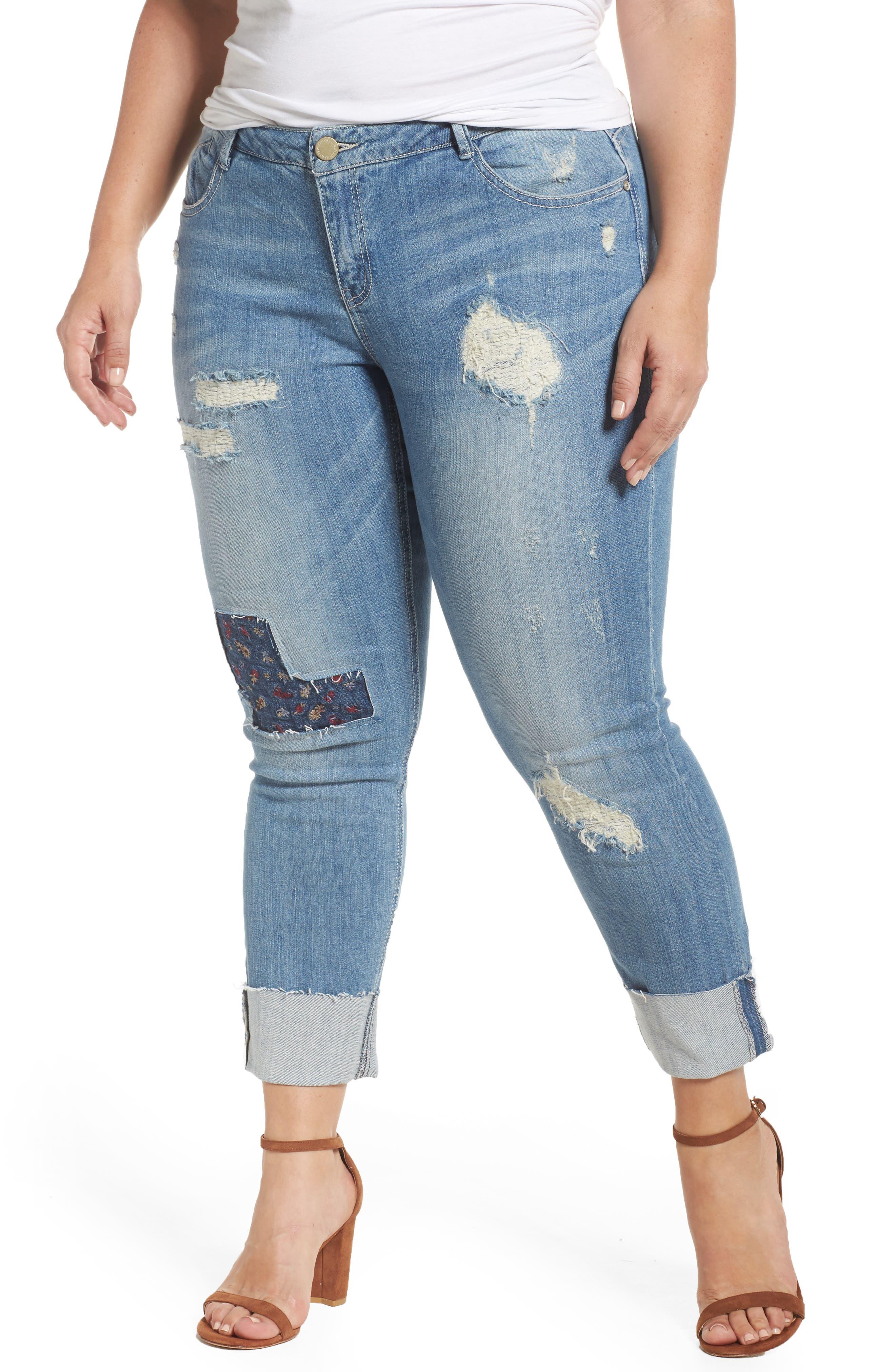 Patch Detail Destructed Girlfriend Jeans,                         Main,                         color, Light Blue