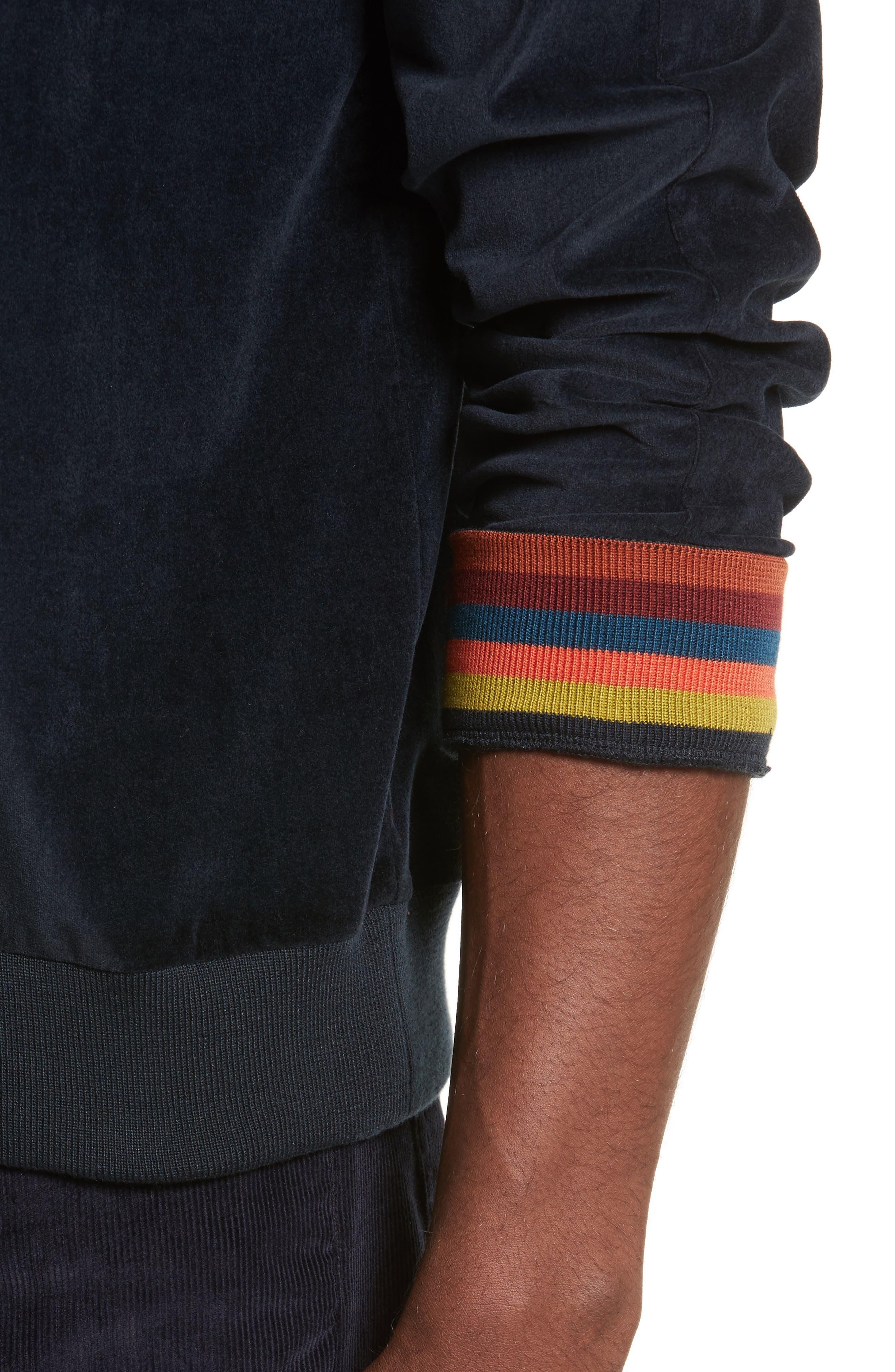 Velvet Sweatshirt,                             Alternate thumbnail 4, color,                             Navy