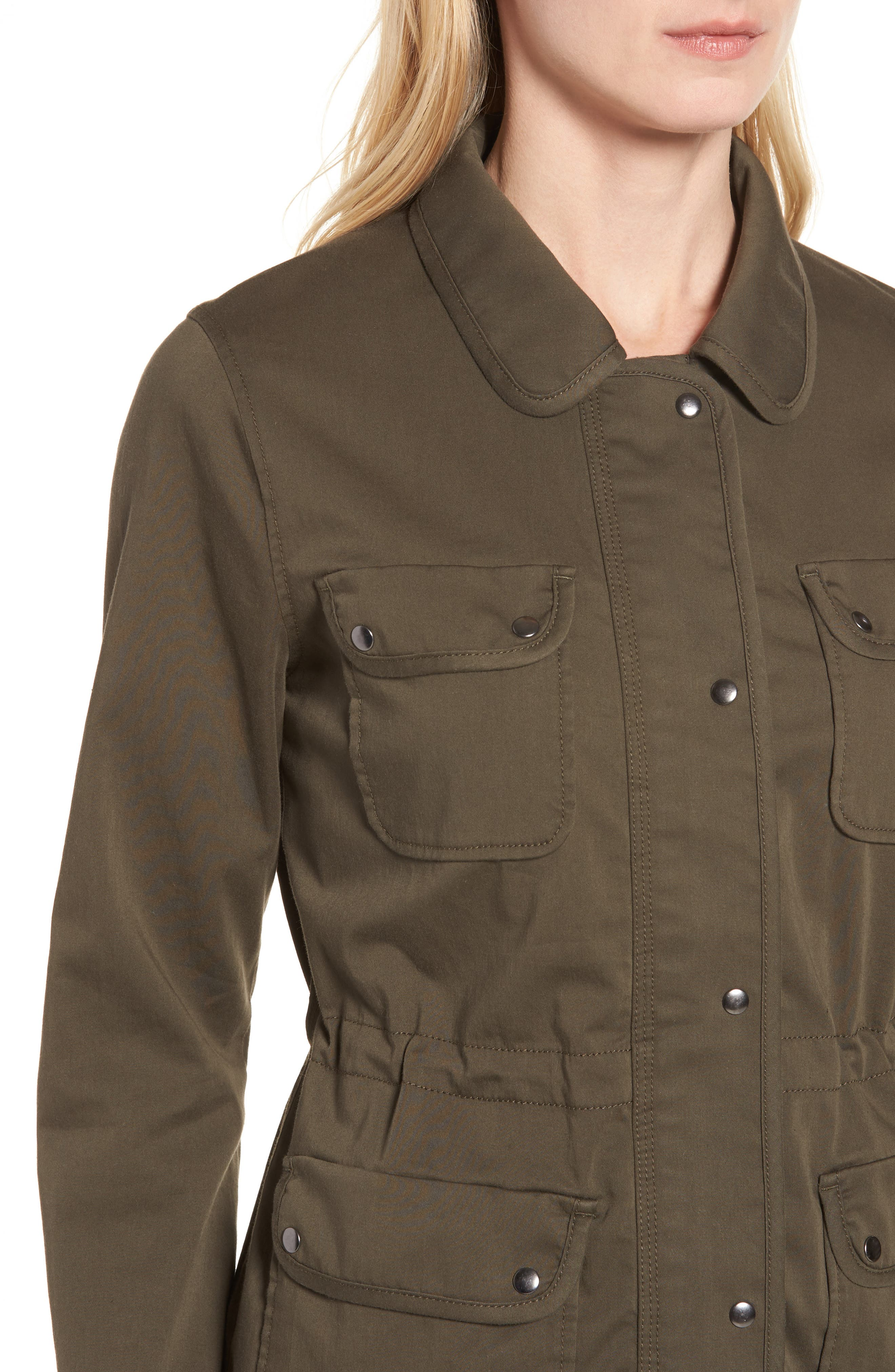 Sateen Utility Jacket,                             Alternate thumbnail 4, color,                             Olive Grove