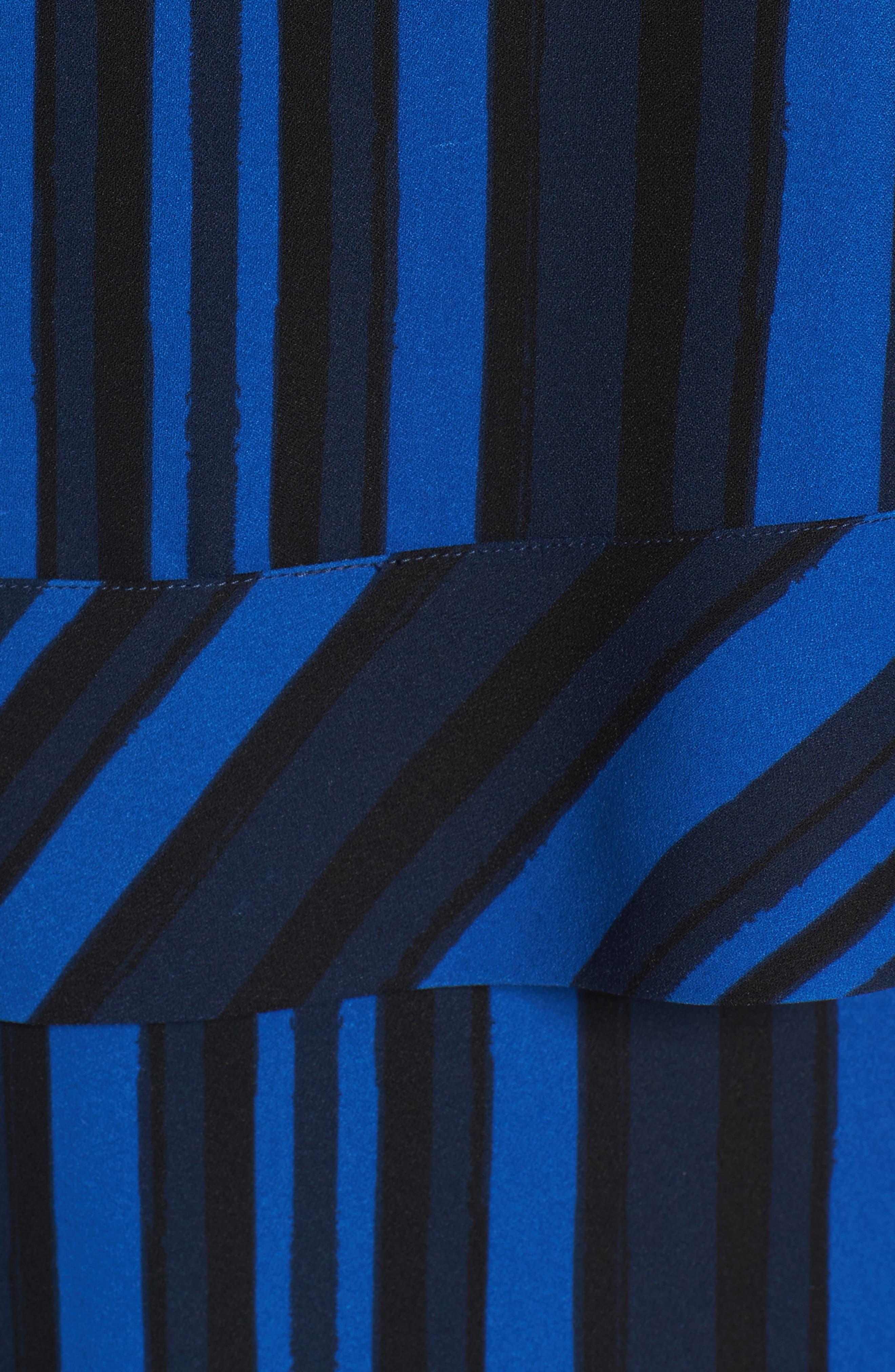 Callie Tiered Shift Dress,                             Alternate thumbnail 5, color,                             Blue Stripe Print