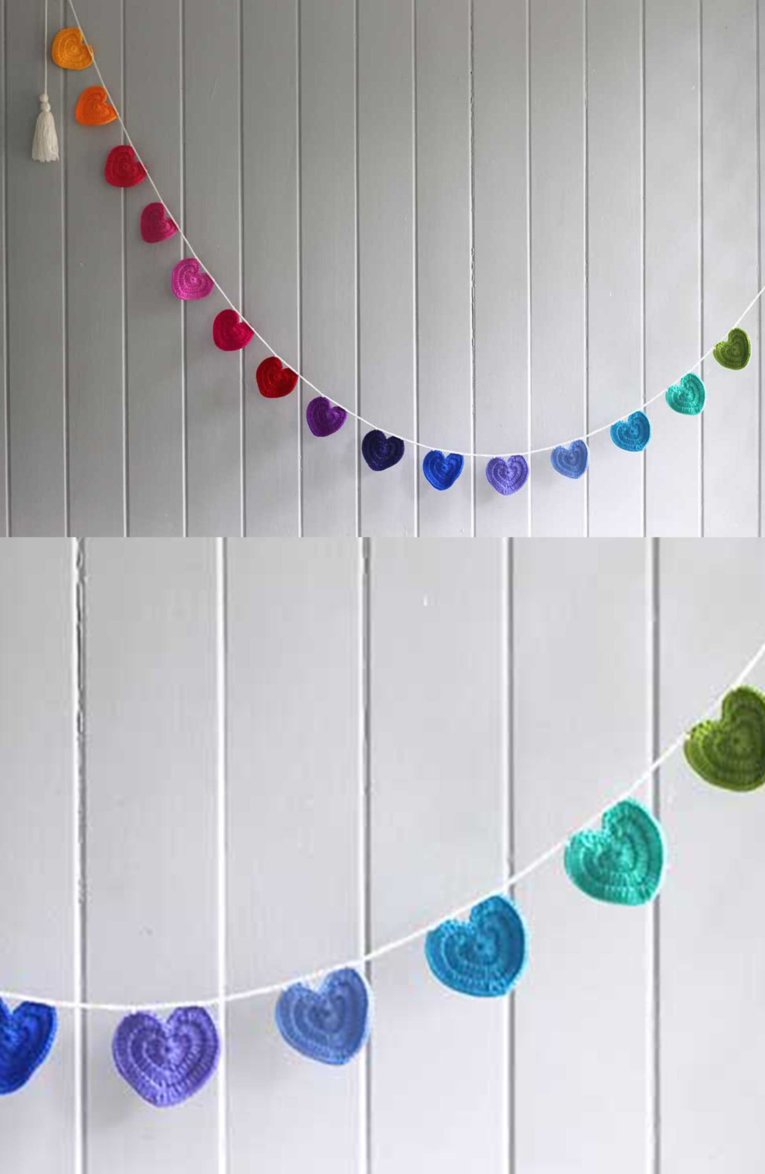 Crocheted Heart Bunting,                             Alternate thumbnail 6, color,                             Rainbow
