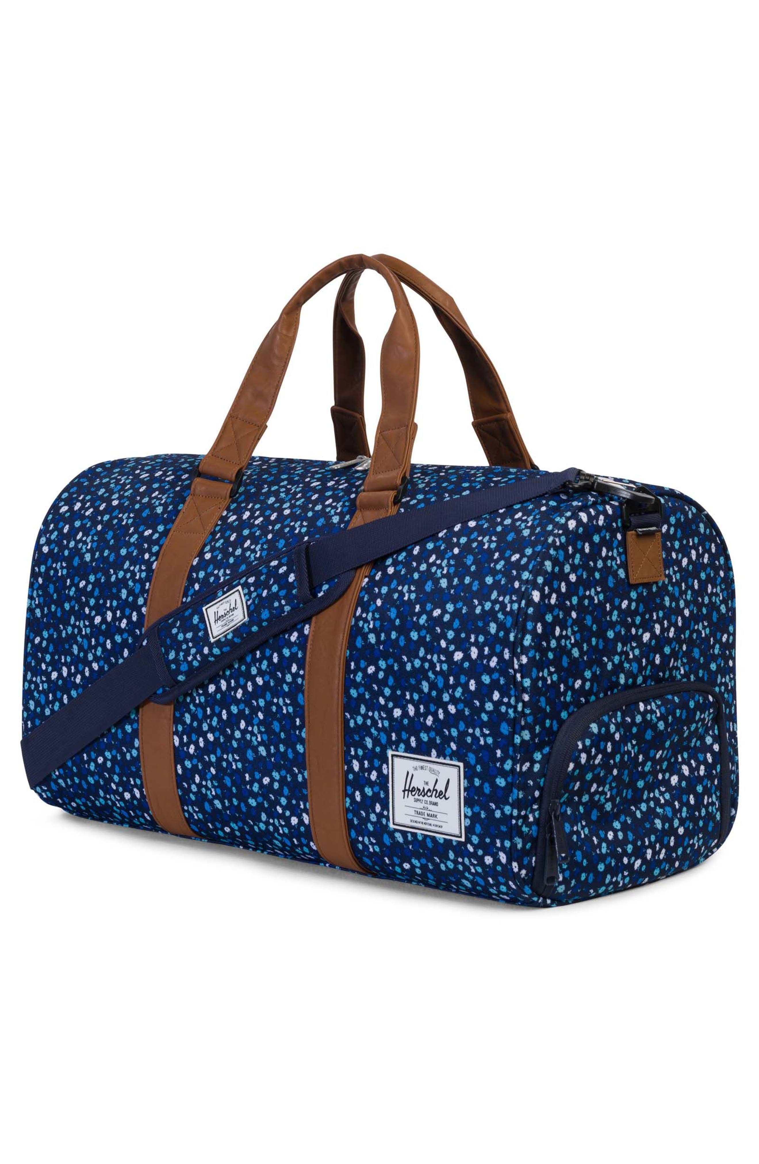 Novel Floral Pattern Duffel Bag,                             Alternate thumbnail 3, color,                             Peacoat Mini Floral