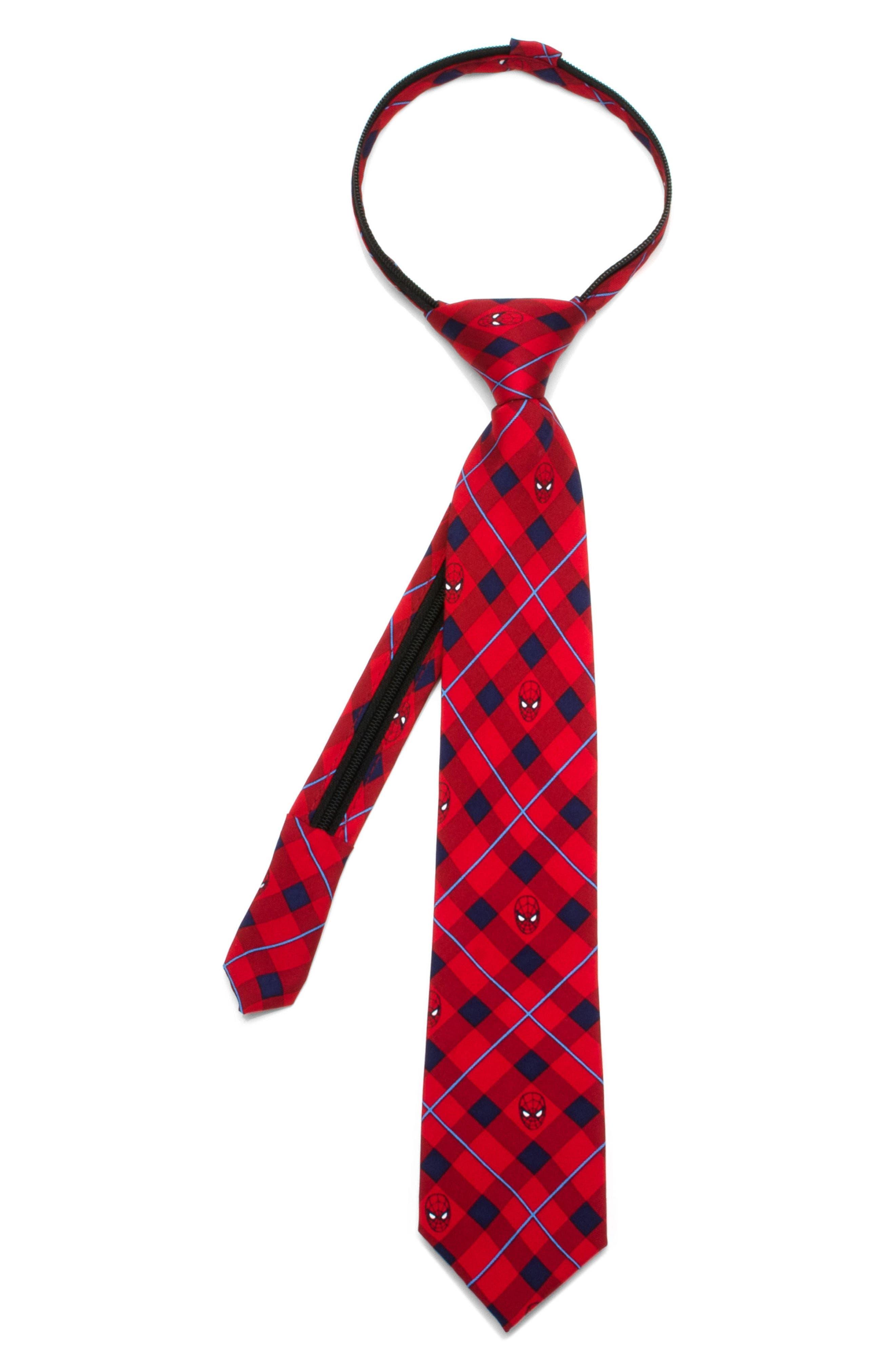 Marvel - Spiderman Zip Silk Tie,                             Main thumbnail 1, color,                             Red