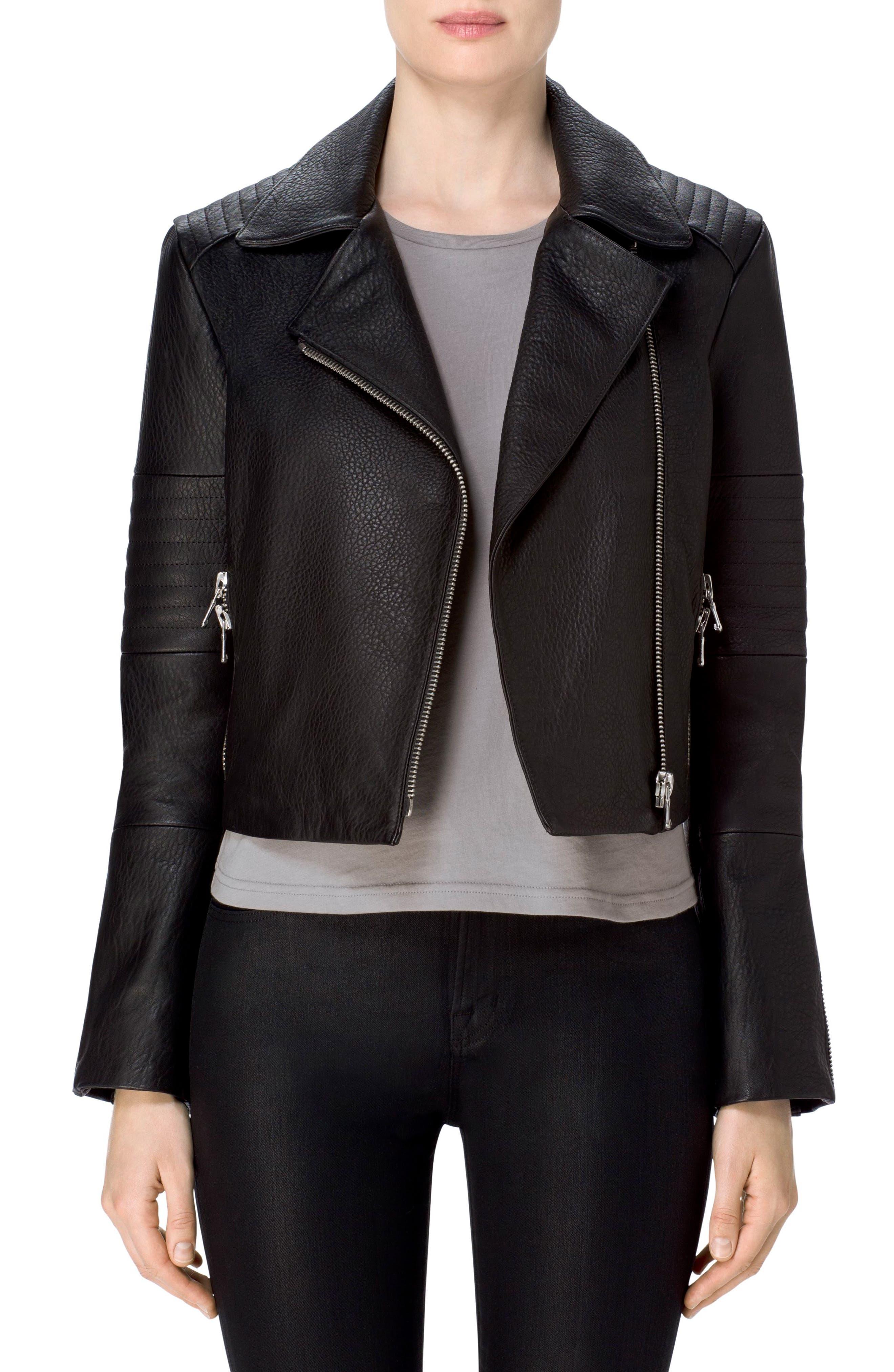 Aiah Leather Moto Jacket,                             Main thumbnail 1, color,                             Black