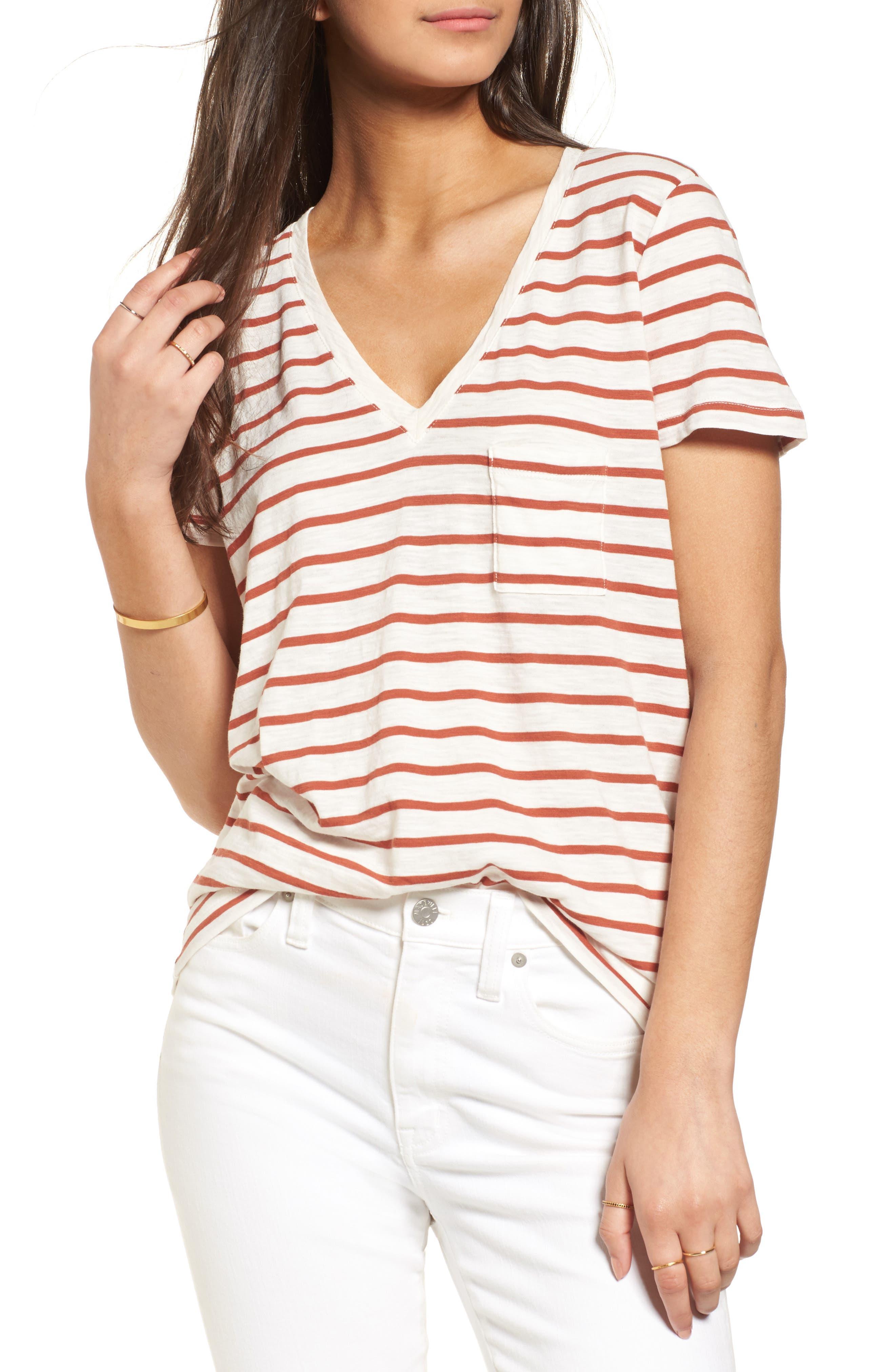 Whisper Cotton Stripe V-Neck Tee,                         Main,                         color, Burnt Ember