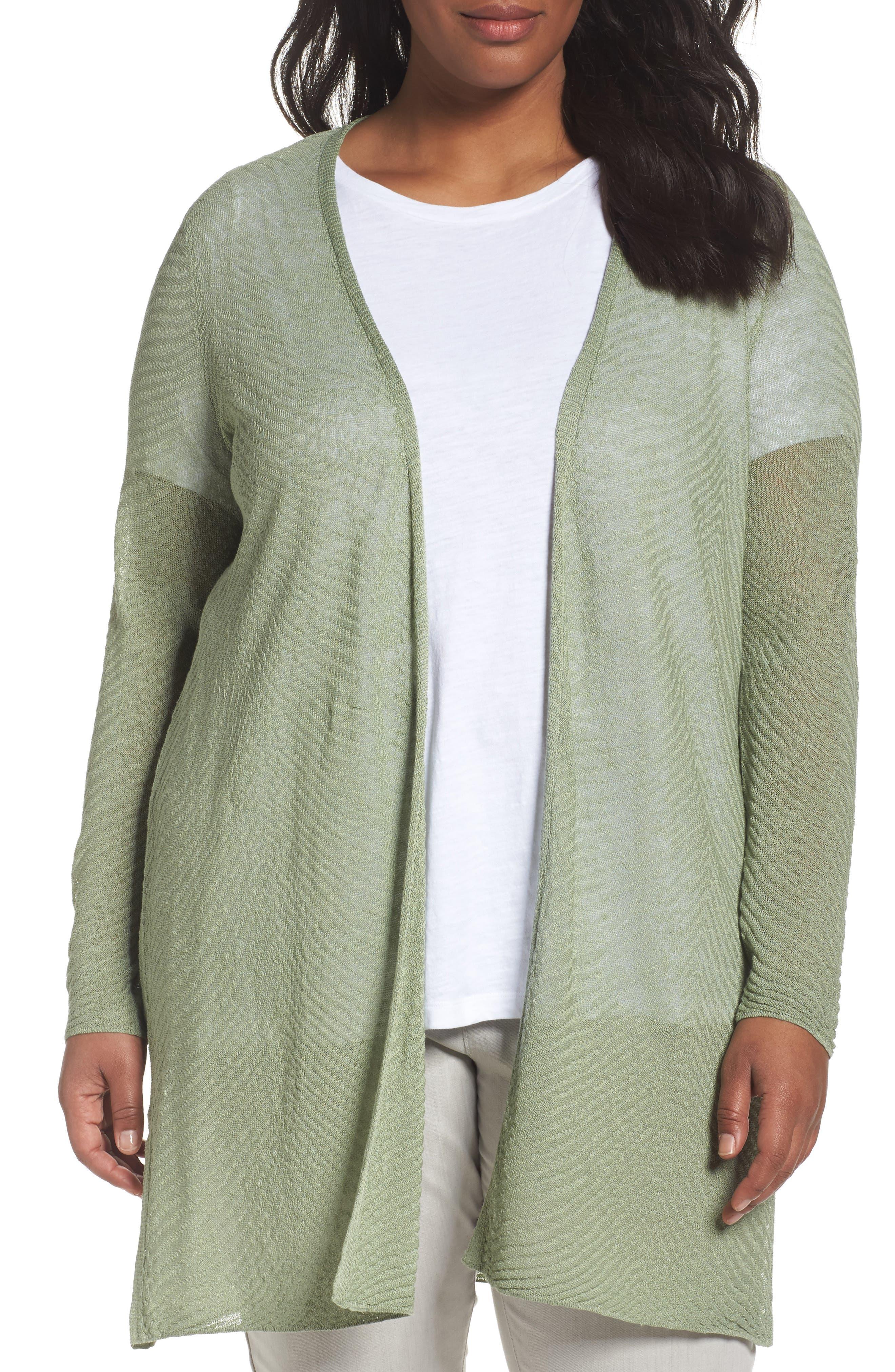 Eileen Fisher Hemp Blend Long Cardigan (Plus Size)