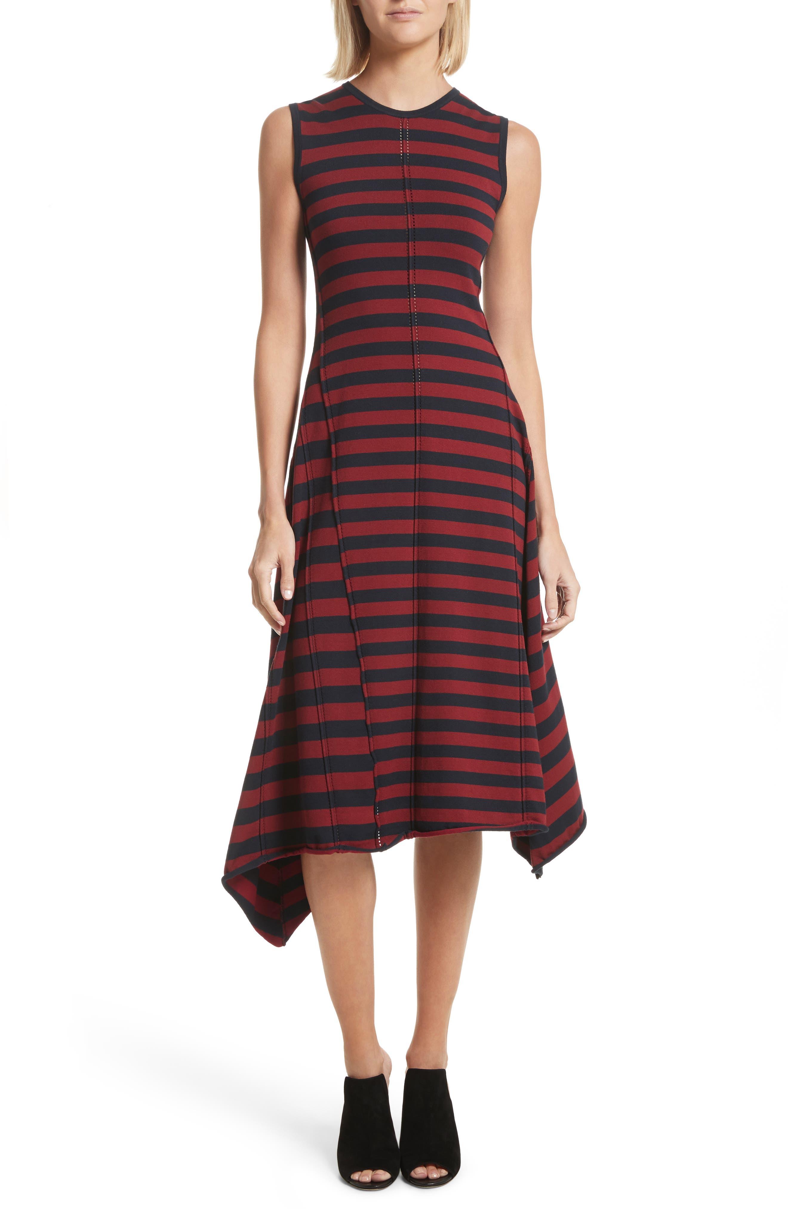 Stripe Handkerchief Hem Dress,                         Main,                         color, Midnight/ Rosewood