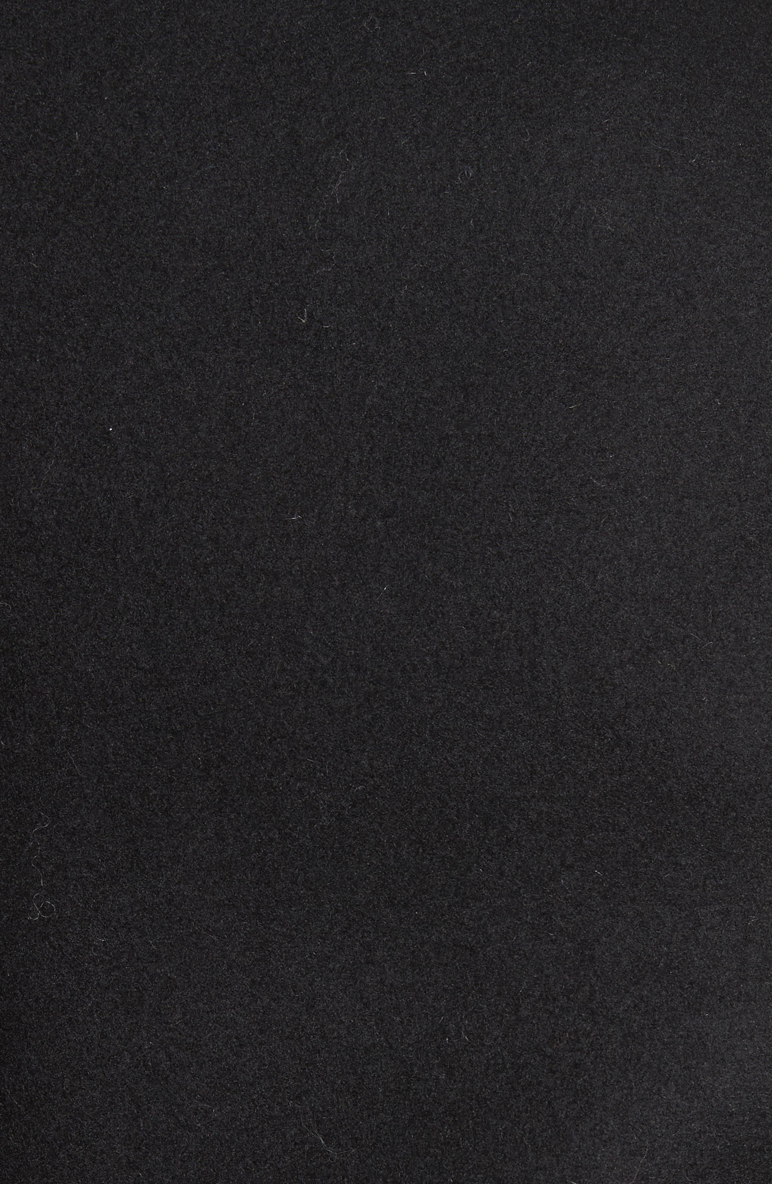 Knit Collar Peacoat,                             Alternate thumbnail 5, color,                             Black