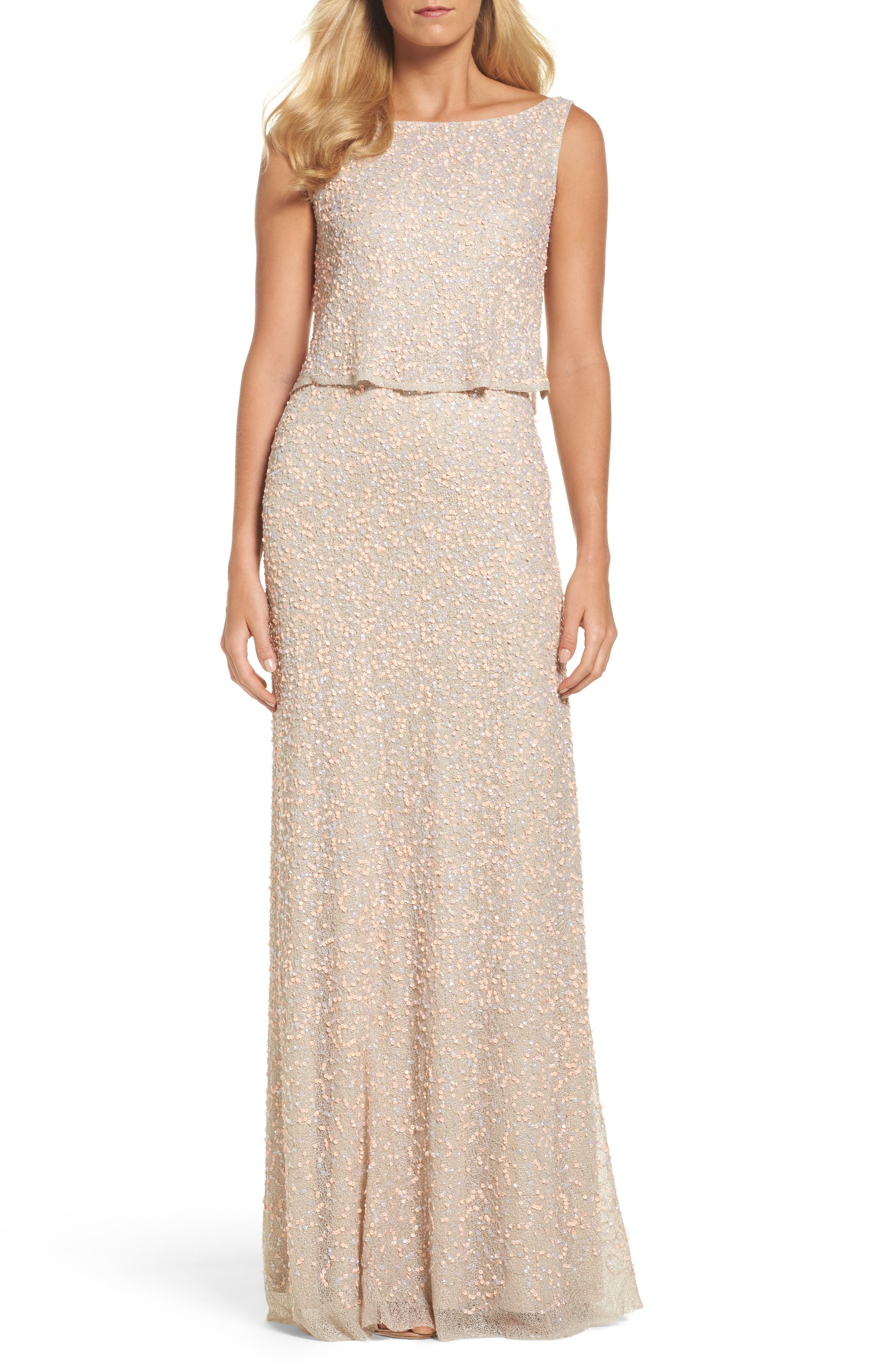 Adrianna Papell Embellished Popover Gown