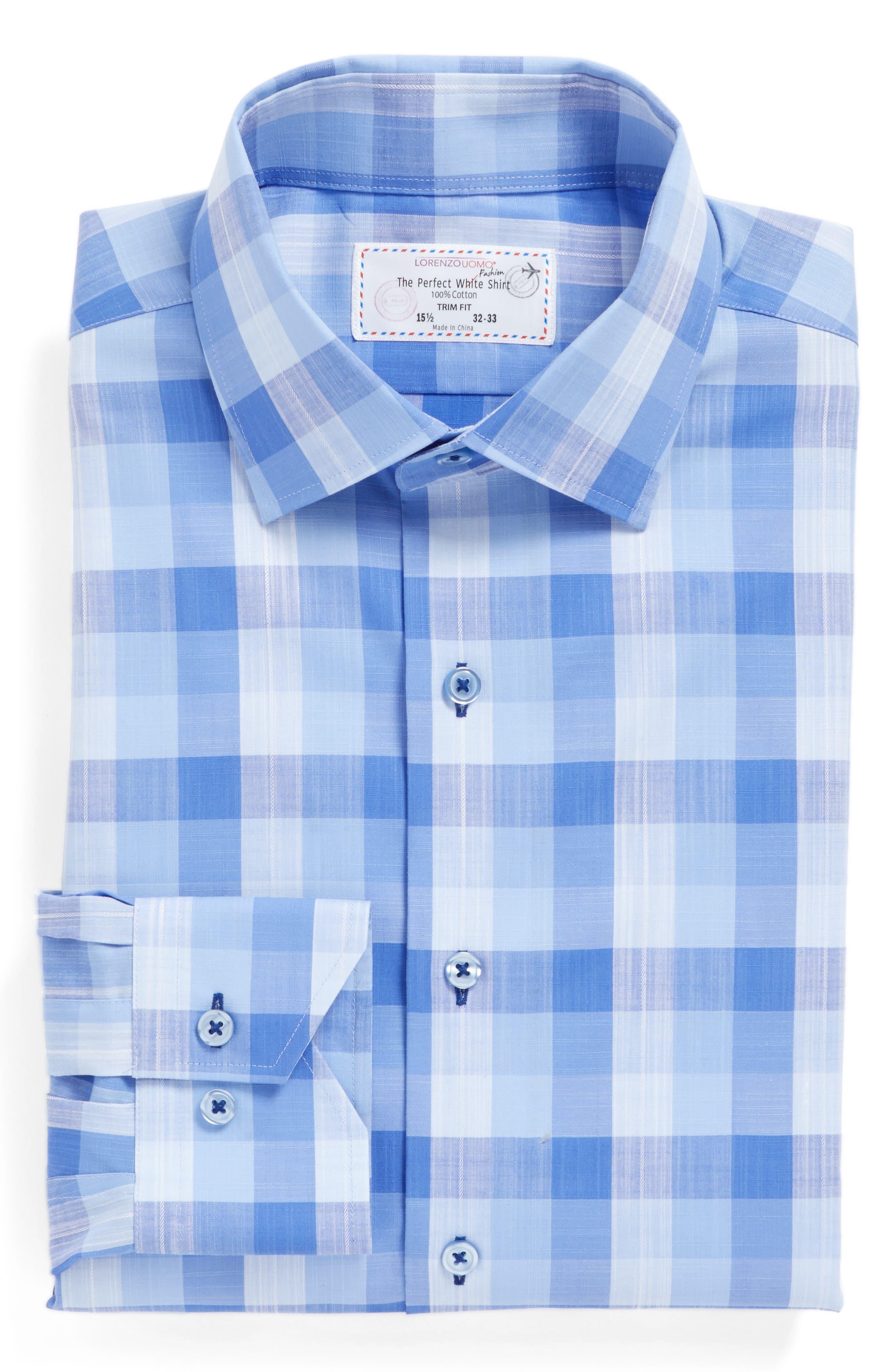 Trim Fit Check Dress Shirt,                             Alternate thumbnail 4, color,                             Blue