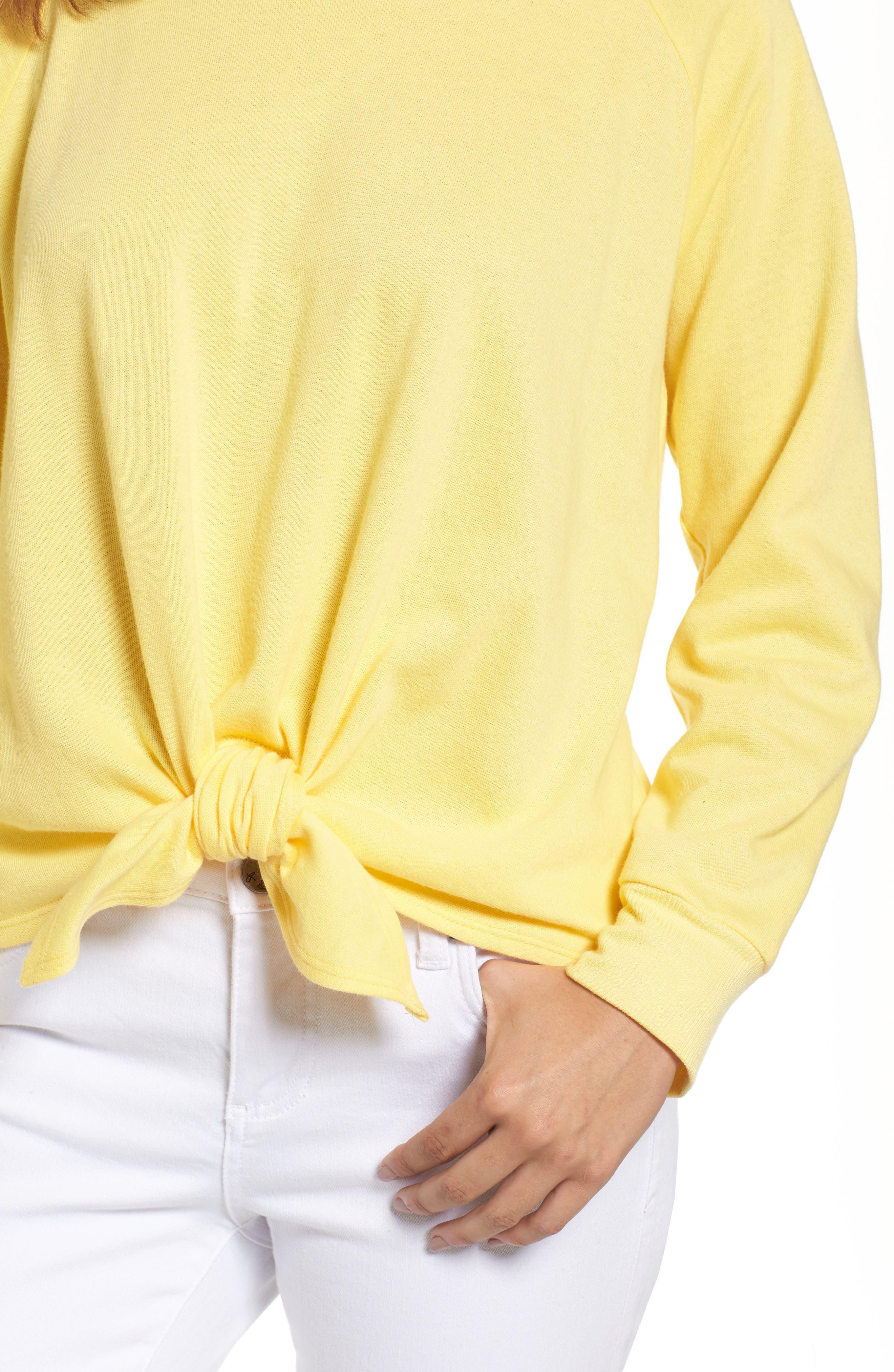 Alternate Image 4  - Caslon® Tie Front Cotton Blend Sweatshirt (Regular & Petite)