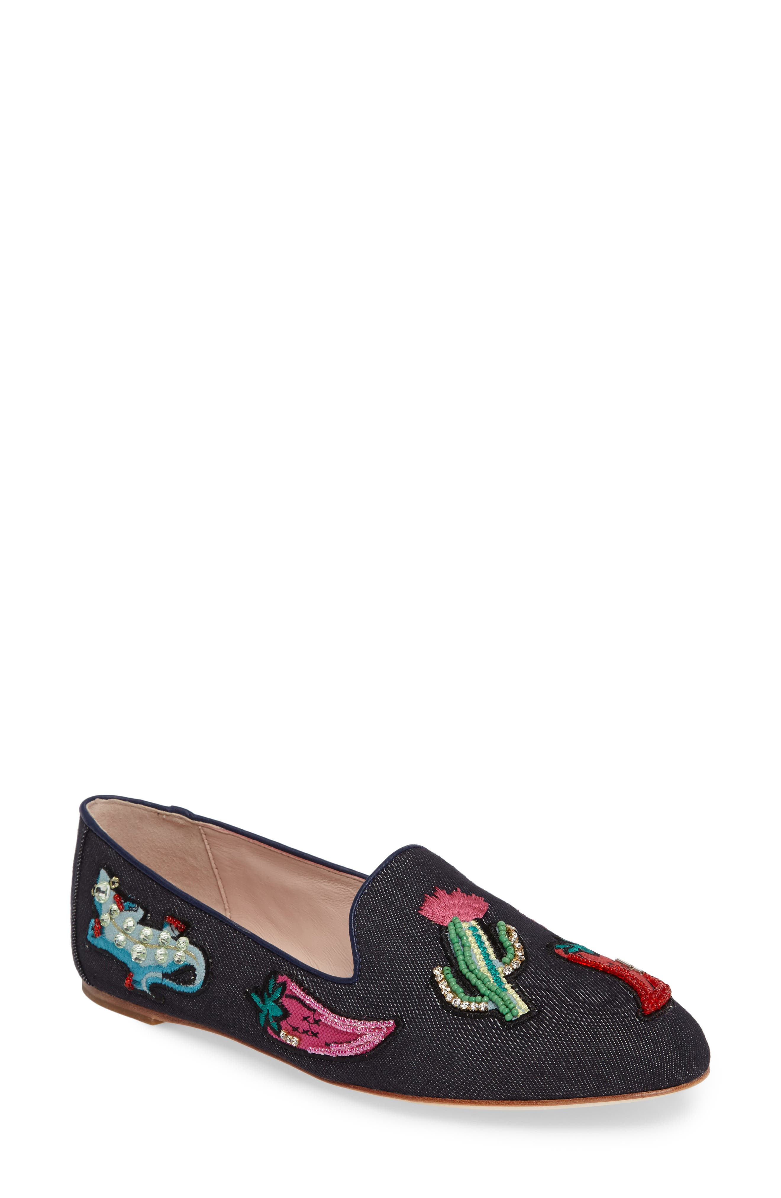 Alternate Image 1 Selected - kate spade new york saville embroidered loafer (Women)